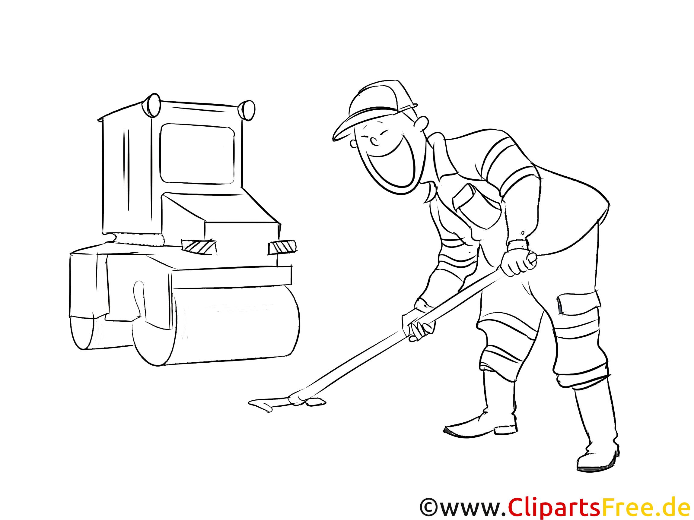 Schwarz-weiße Strichzeichnung, Clipart Straßenbauer