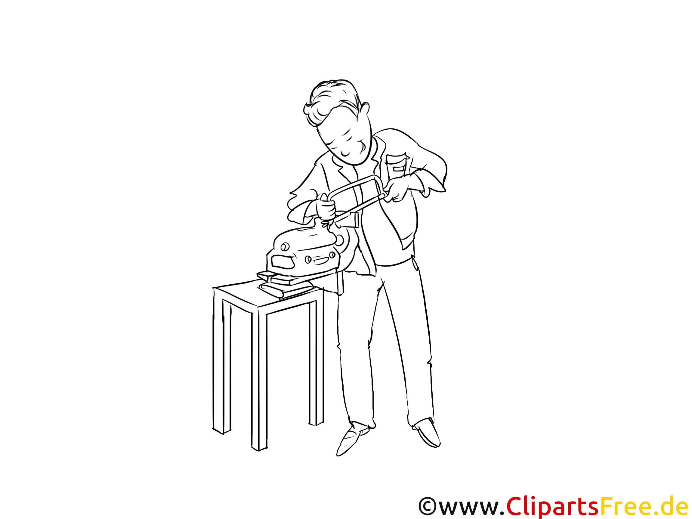 Schwarz weiß Clipart Werkzeugmechaniker