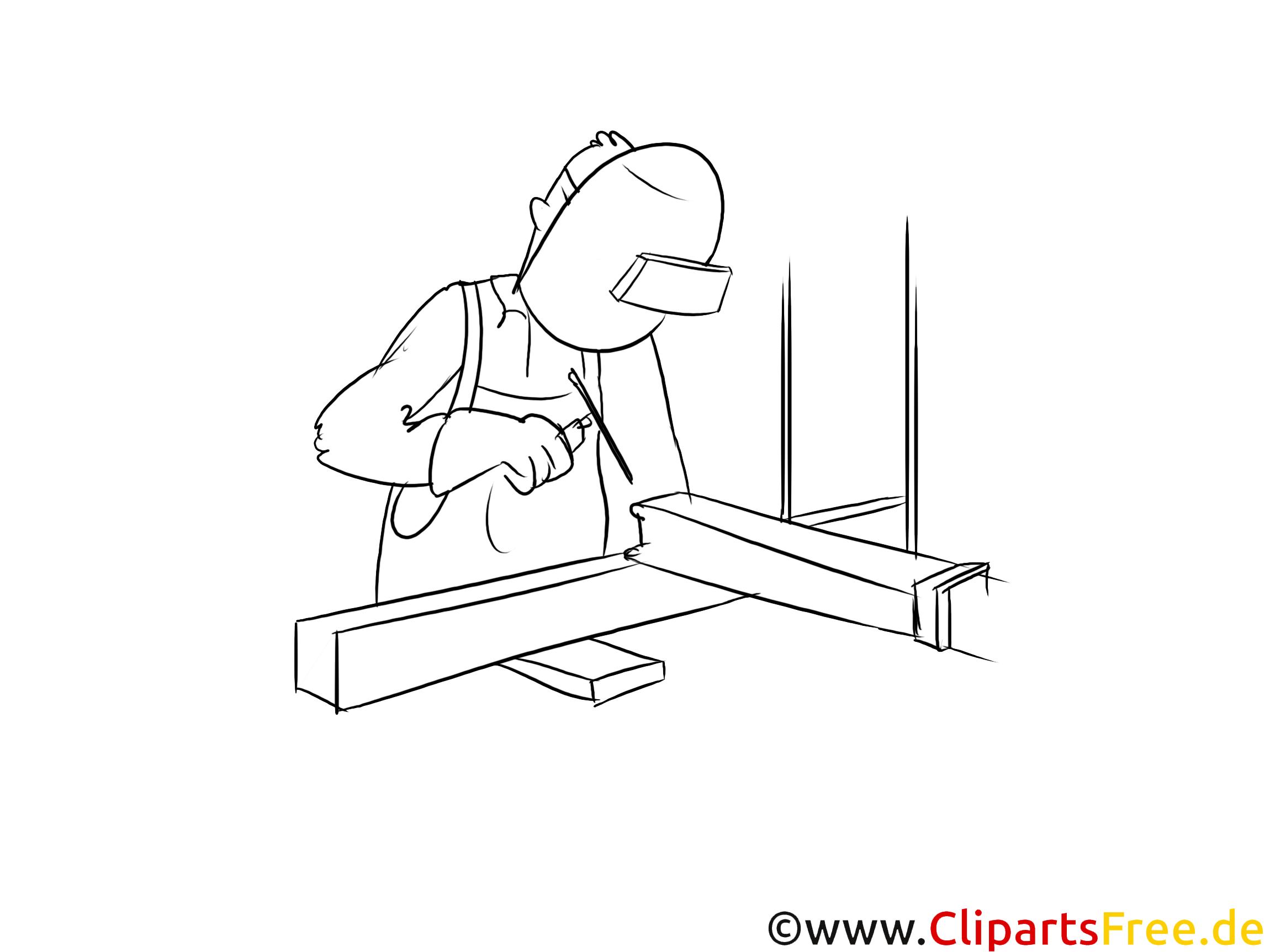 Schweißer Clipart, Grafik, Bild schwarz-weiß
