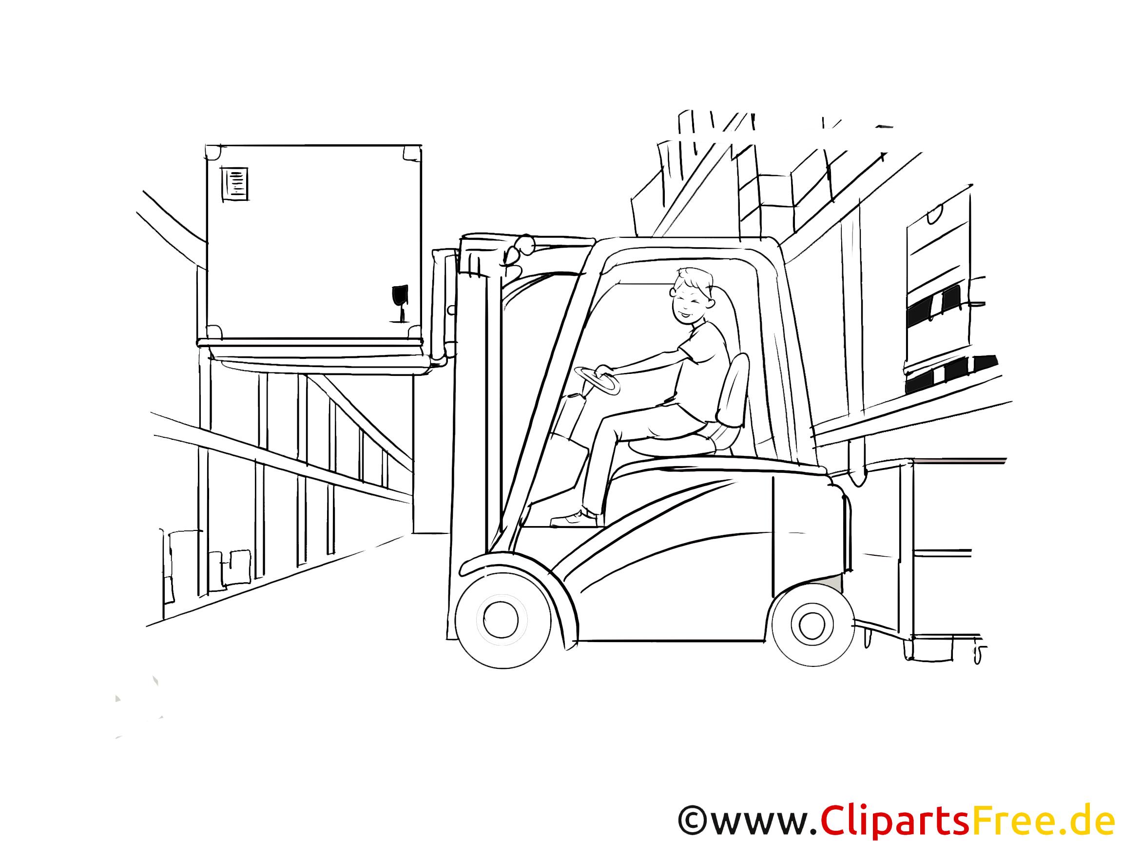 Staplerfahrer Clipart, Grafik, Bild schwarz-weiß