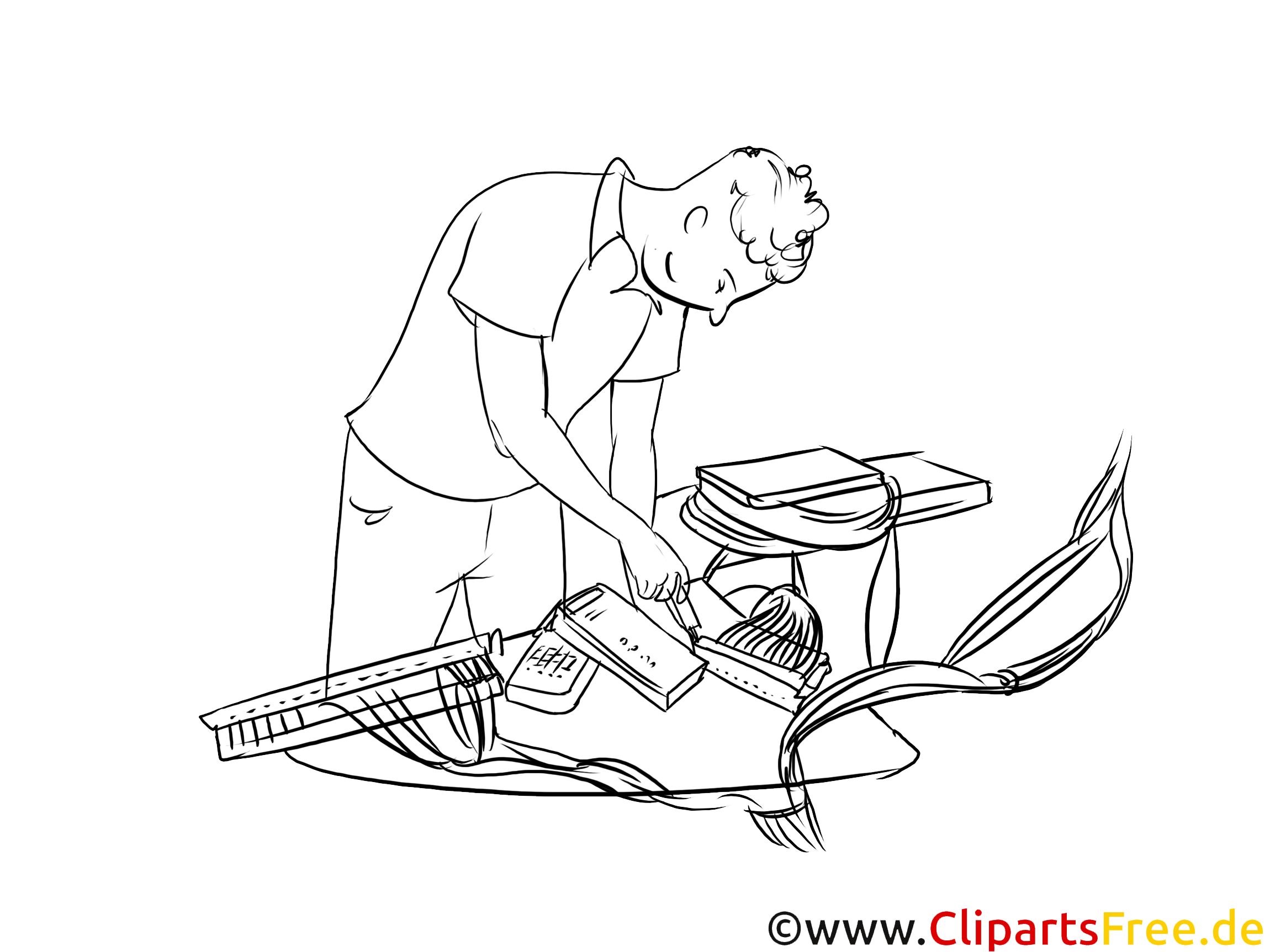 Systemelektroniker Clipart, Grafik, Bild schwarz-weiß