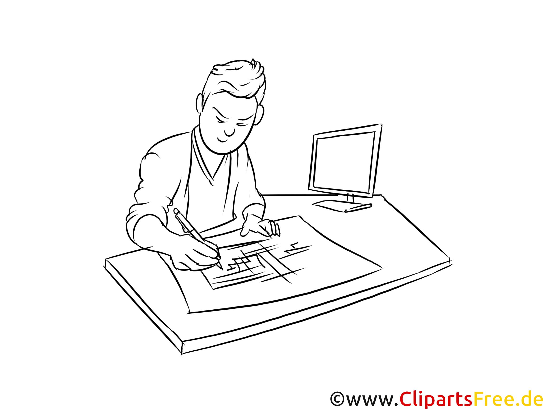 Technische Systemplaner schwarz-weiße Cliparts, Bilder