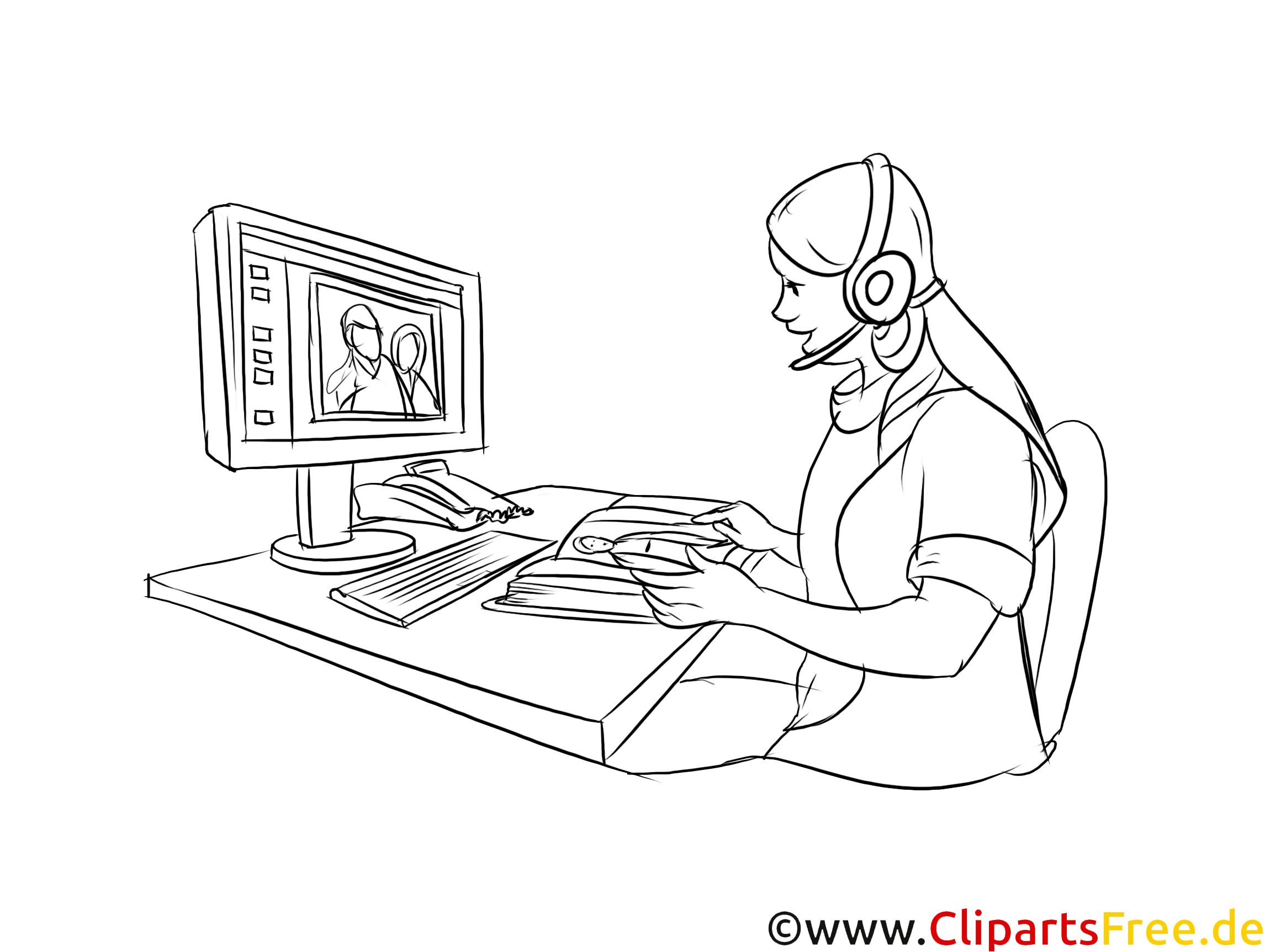 Telefonistin Grafik, Bild, Clipart zum Drucken schwarzweiß