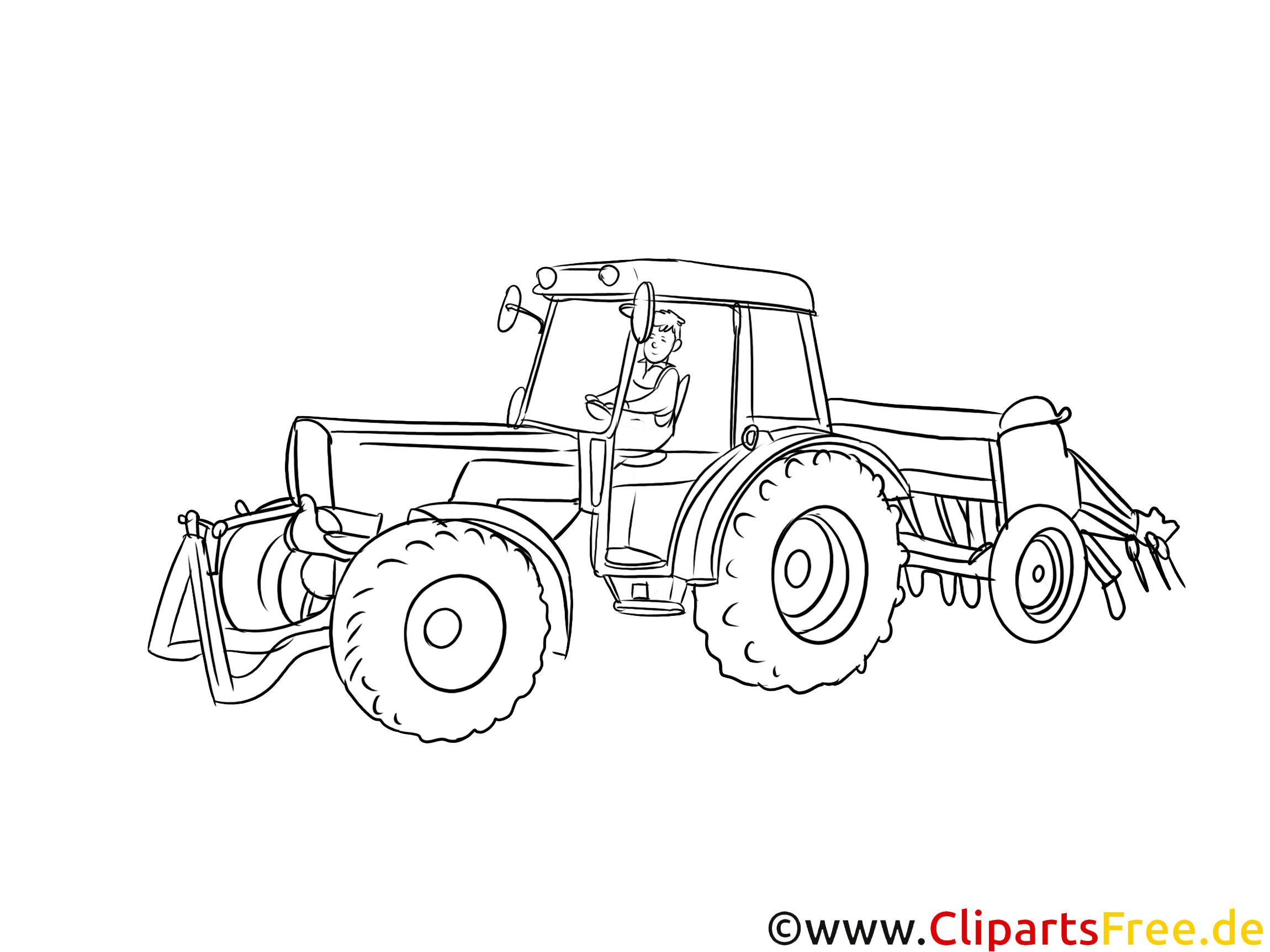 Traktorfahrer, Bauer, Landwirt Clipart, Grafik, Bild schwarz-weiß