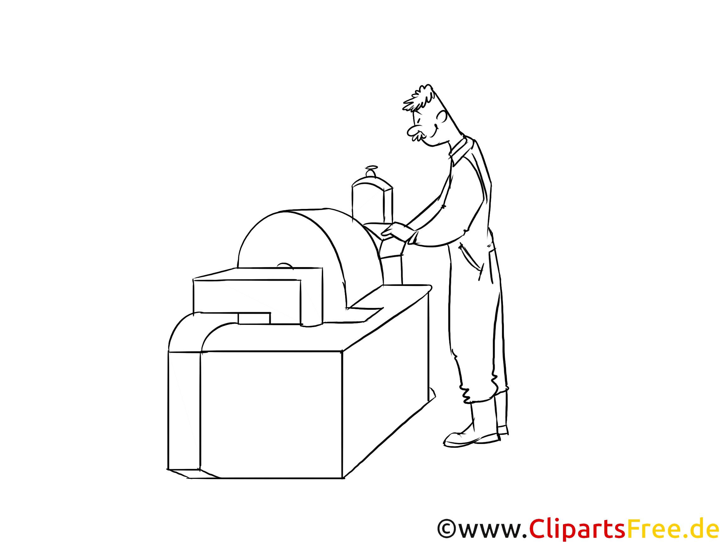 Verfahrensmechaniker Clipart, Grafik, Bild schwarz-weiß