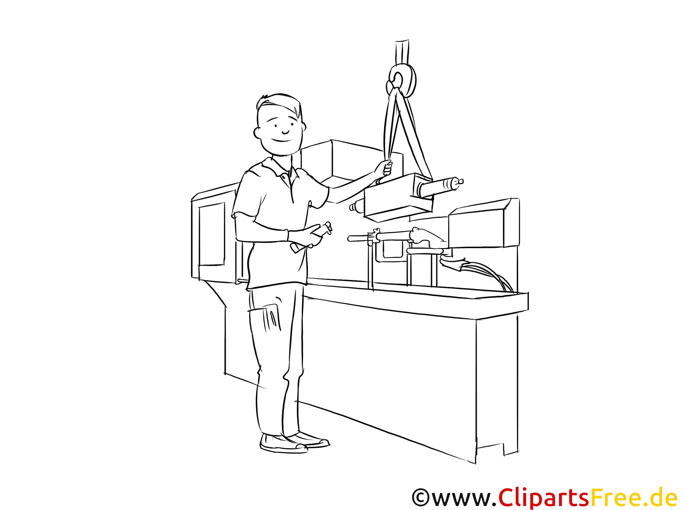 Verfahrensmechaniker druckbare schwarz-weiße Cliparts, Grafiken zum Thema Berufe