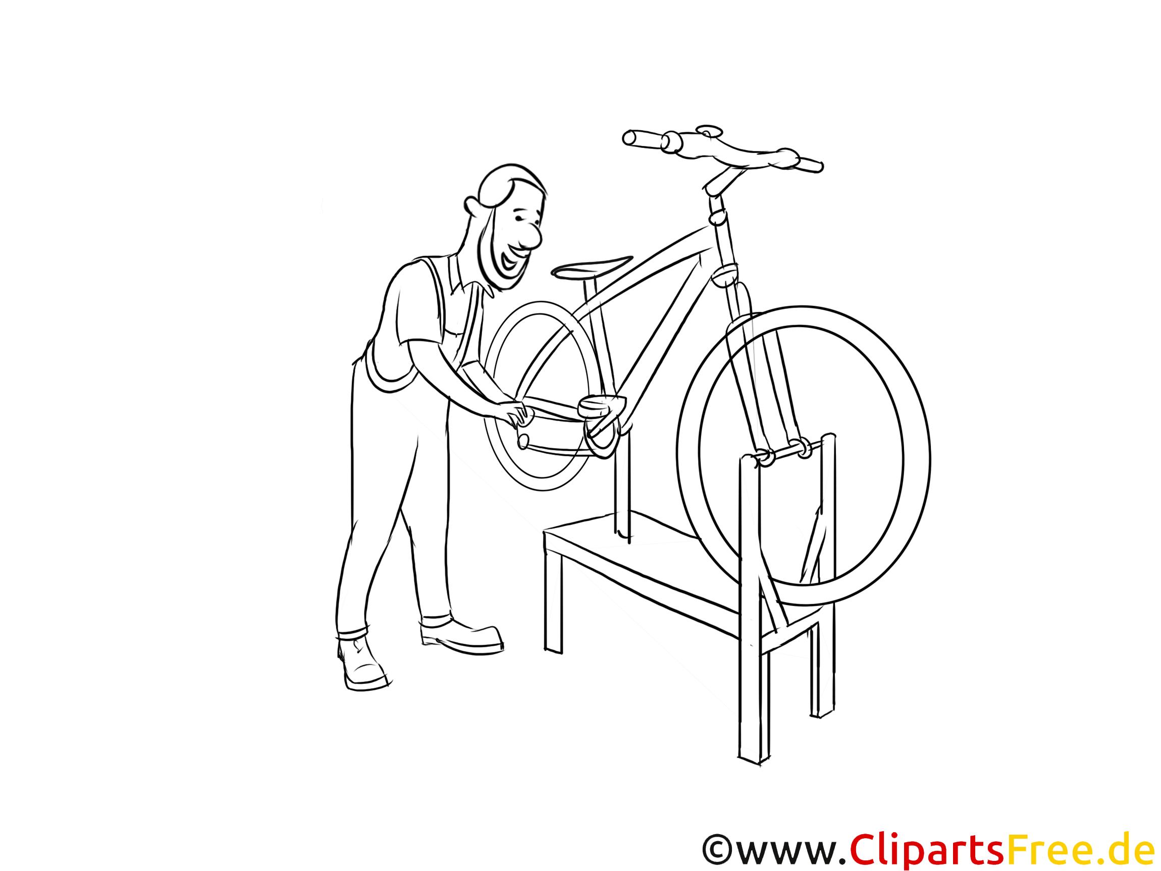 Zweiradmechaniker Clipart Schwarzweiß kostenlos