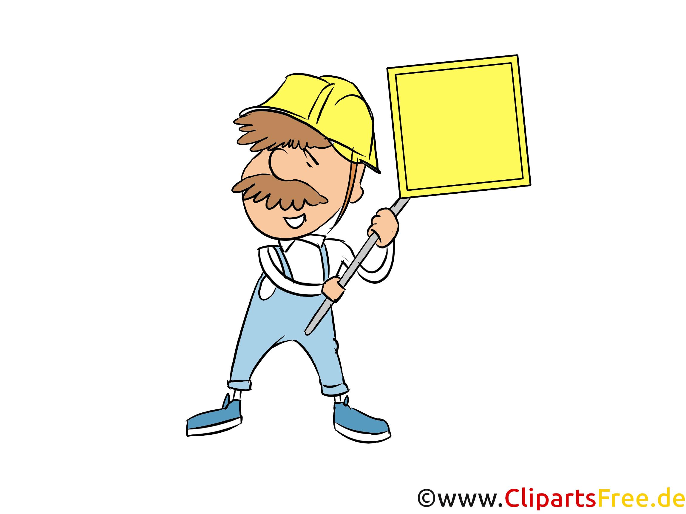Bauarbeiter mit Schild Powerpoint Grafiken kostenlos