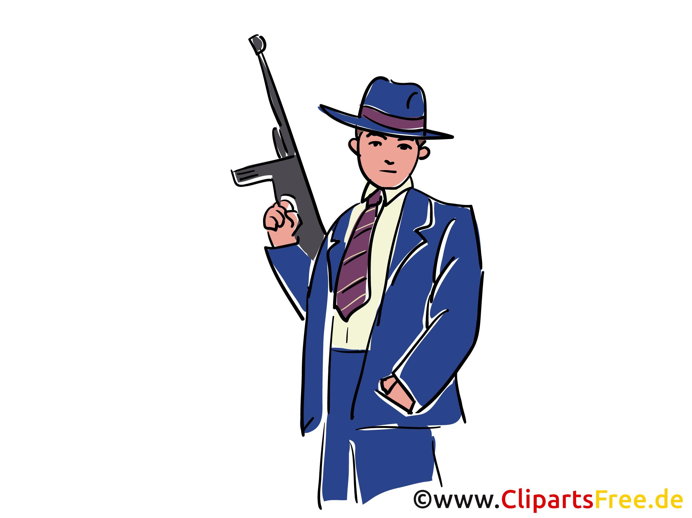 Chicago Gangster Stock Illustration, Clipart