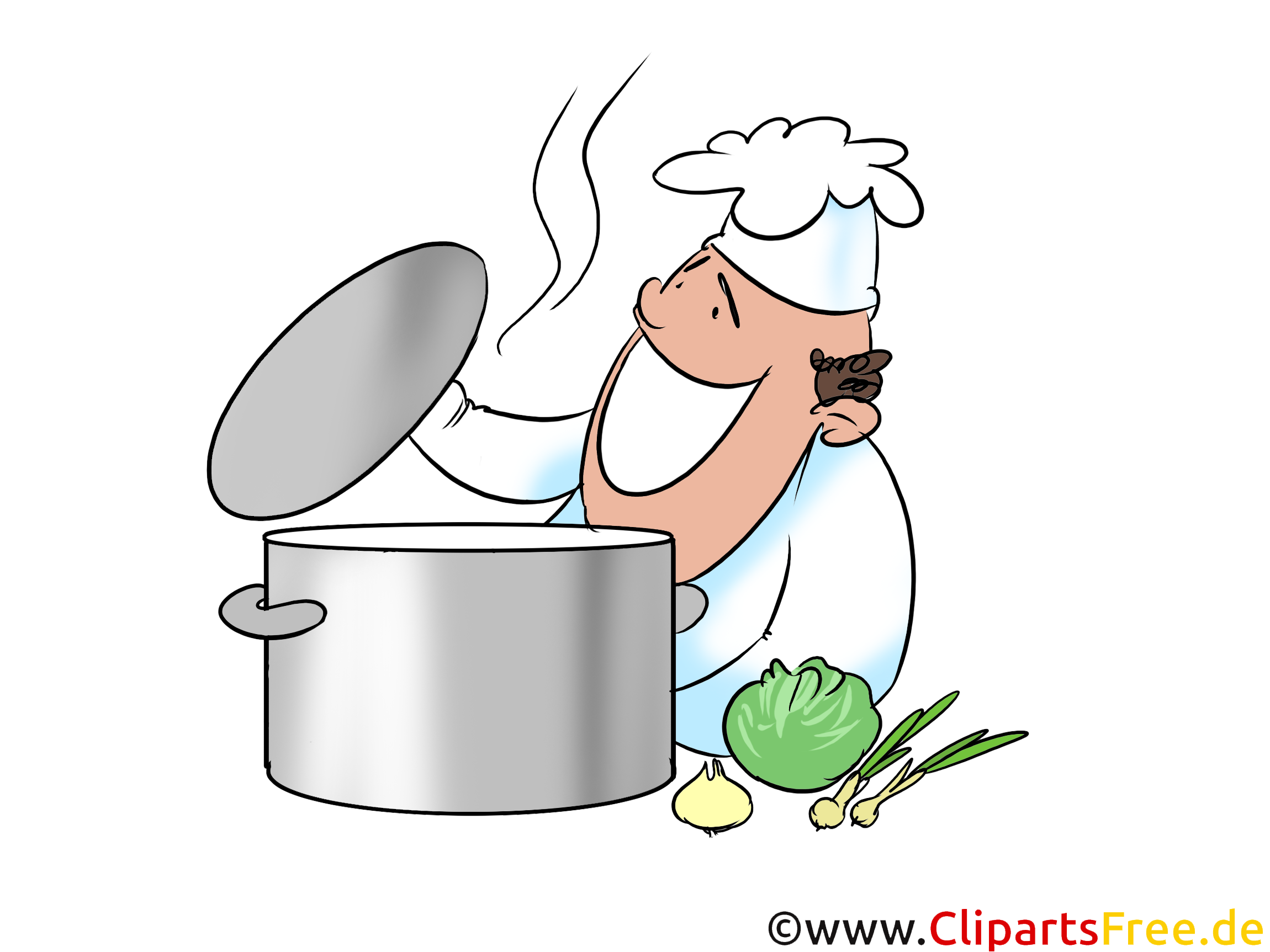 Clipart Suppentopf, Koch, Küche