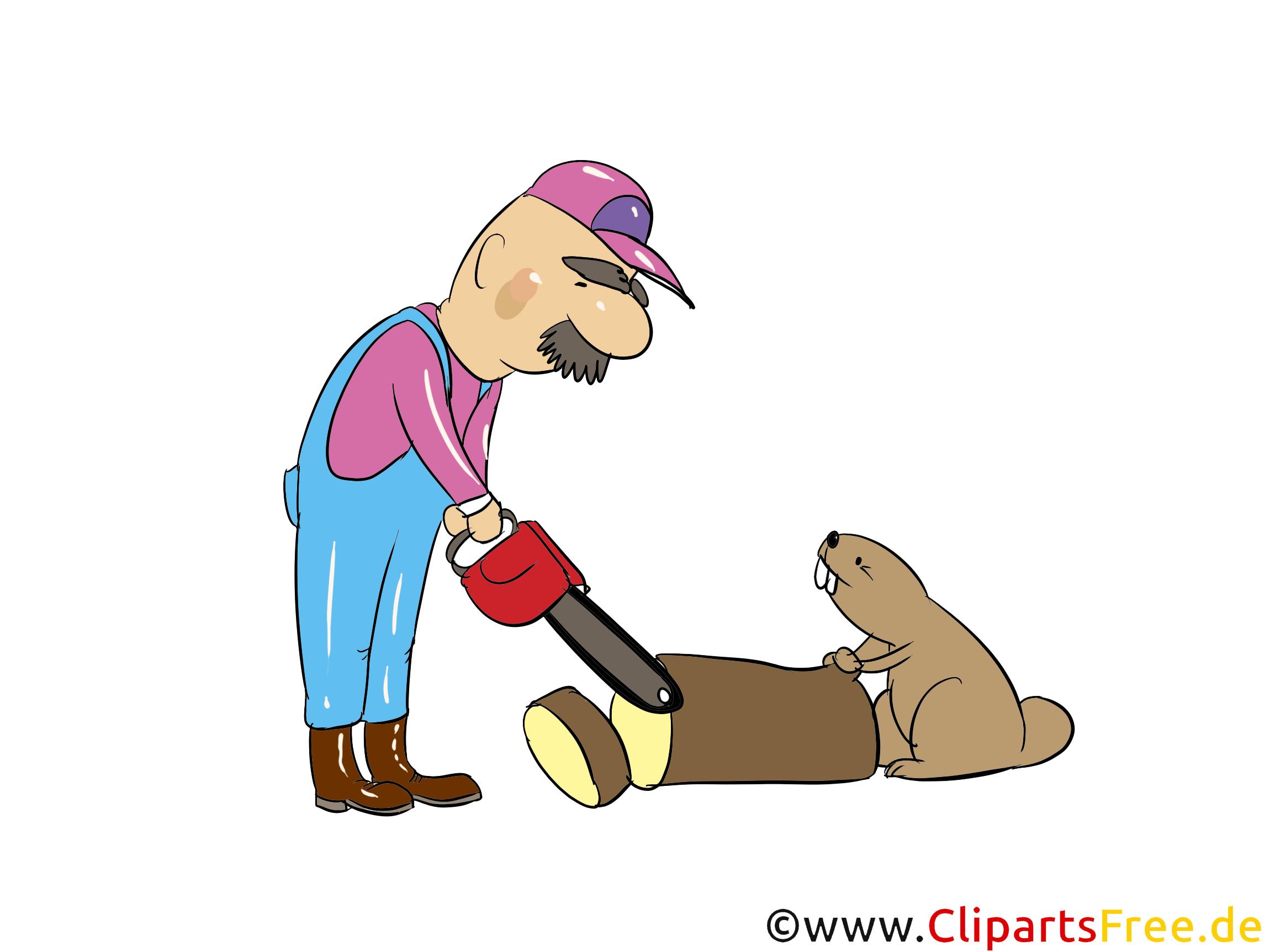 Forstmeister mit Kettensäge und Biber  Bild, Clipart, Illustration