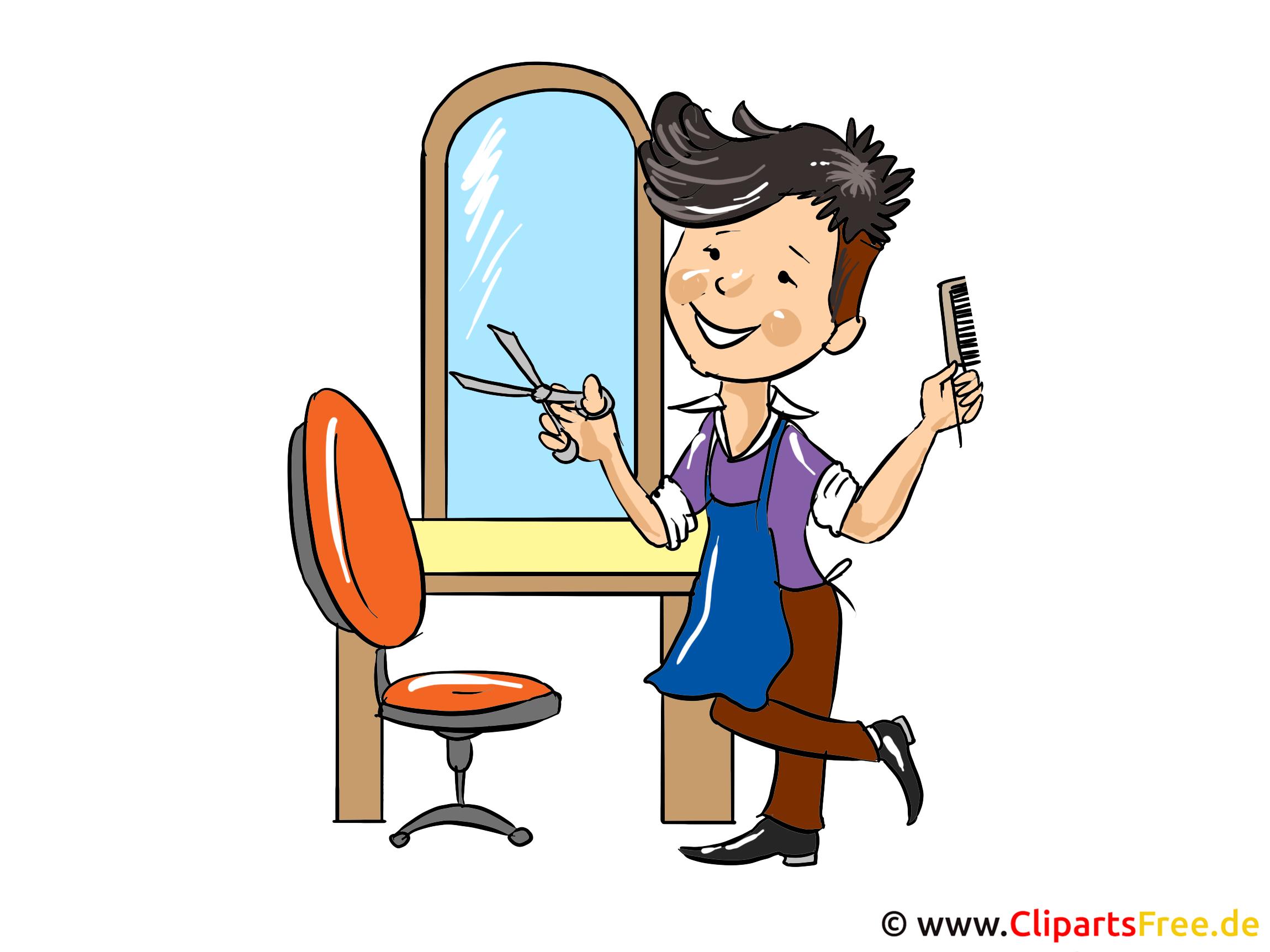 Friseur Cartoon - Beruf Bilder kostenlos