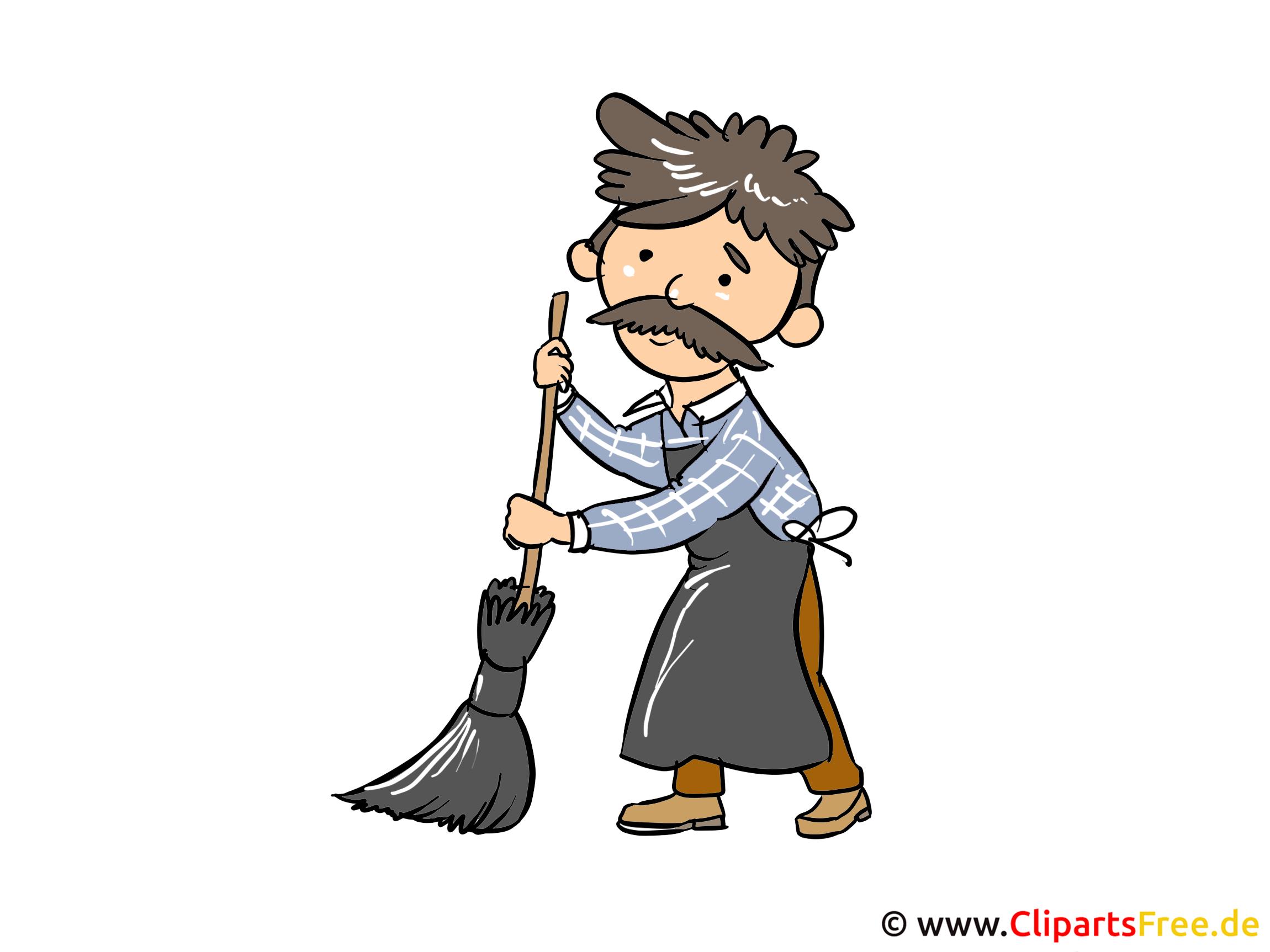 Hausmeister, Strassenfeger Clipart, Bild,  Cartoon gratis
