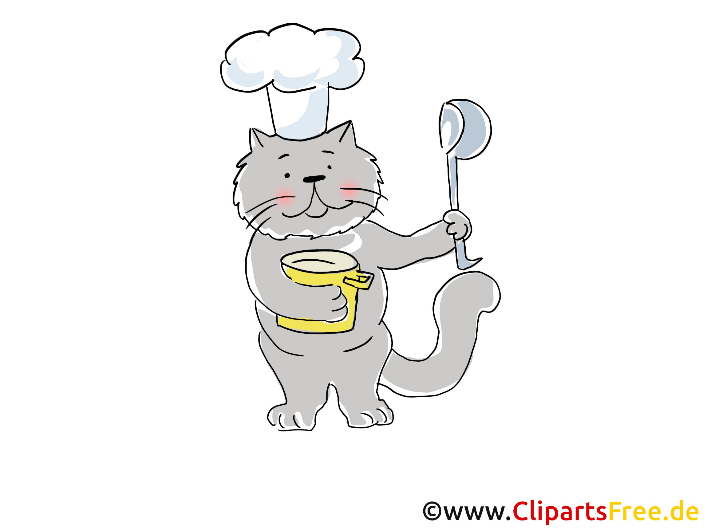 Kater mit Löffel und Kochmütze Cartoon, Clipart, Bild, Illustration