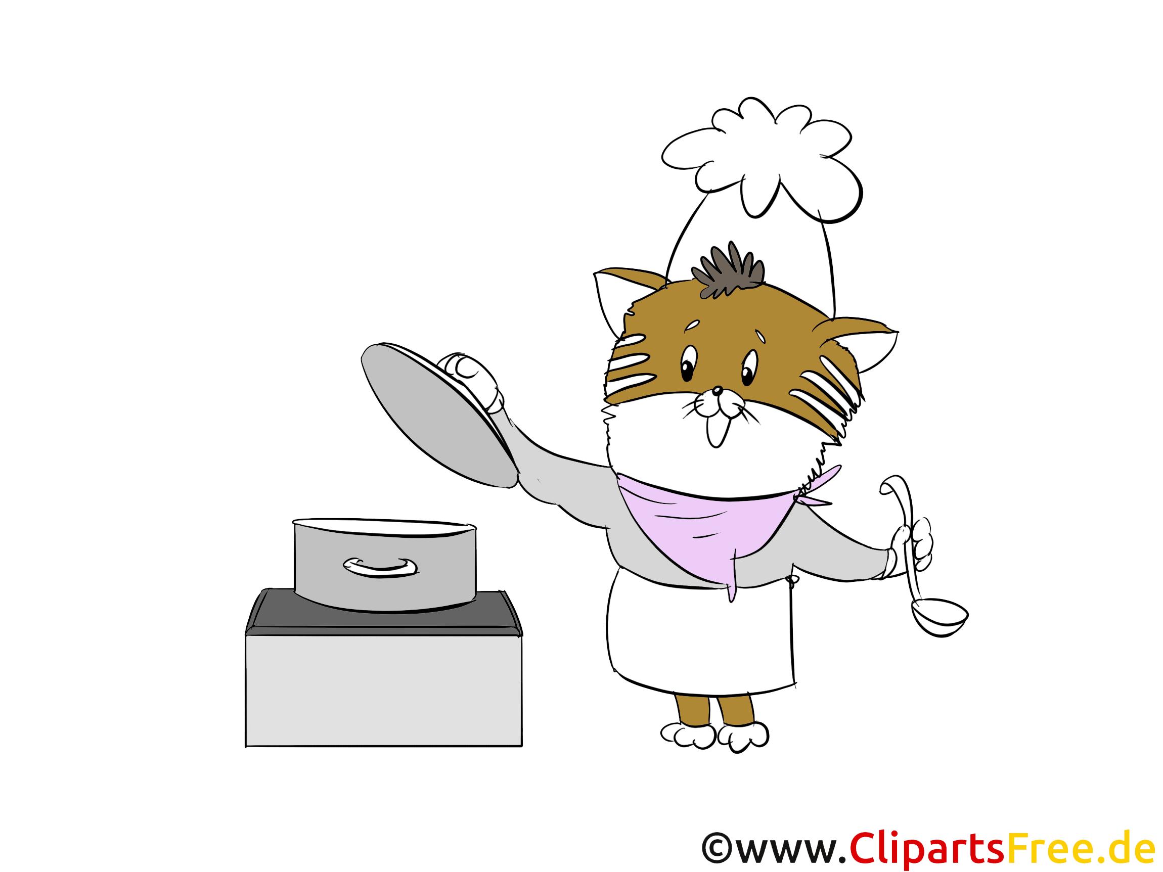 Katze Koch Clipart, Bild, Illustration