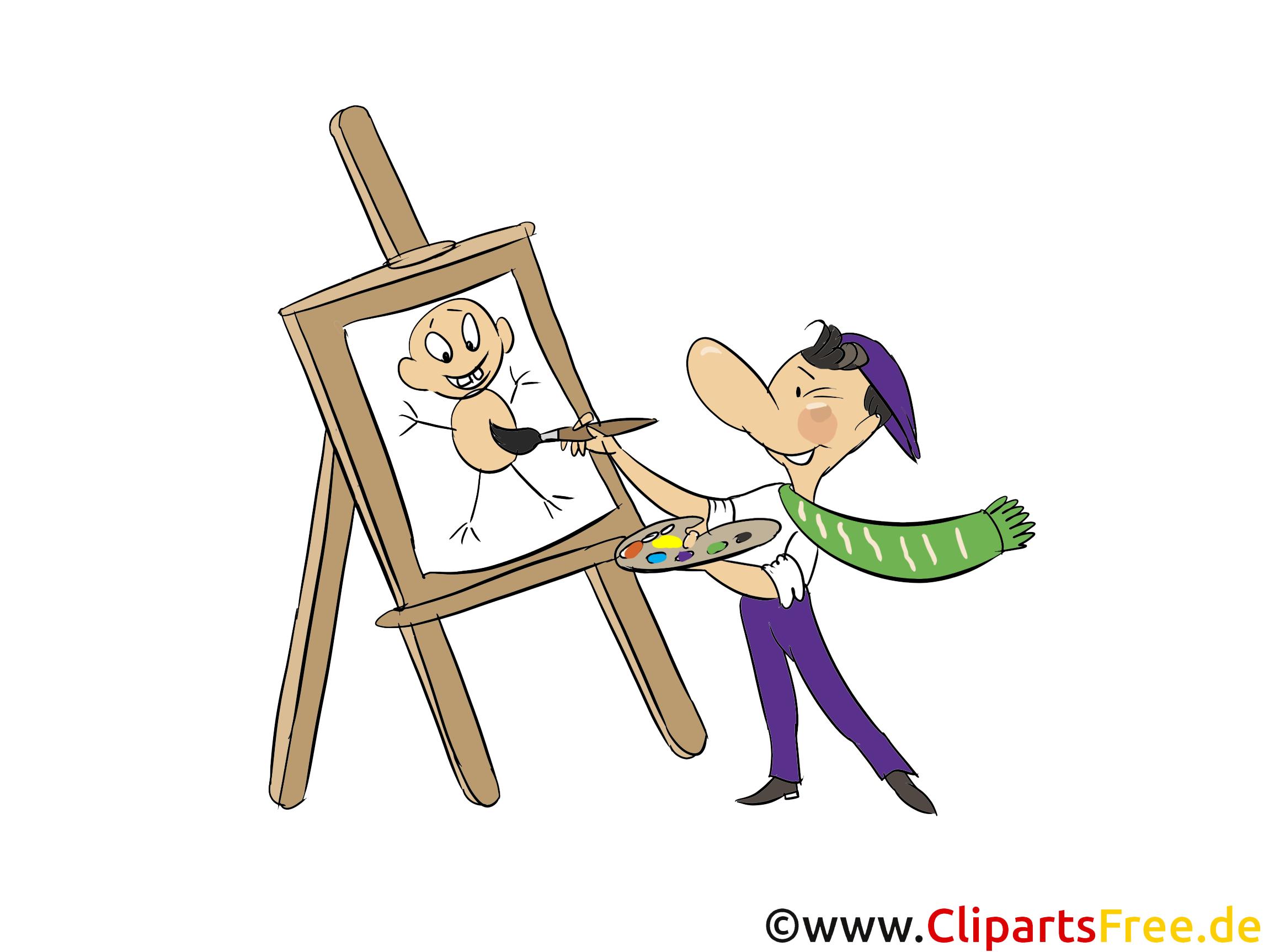 Künstler malt Bild, Clipart, Illustration