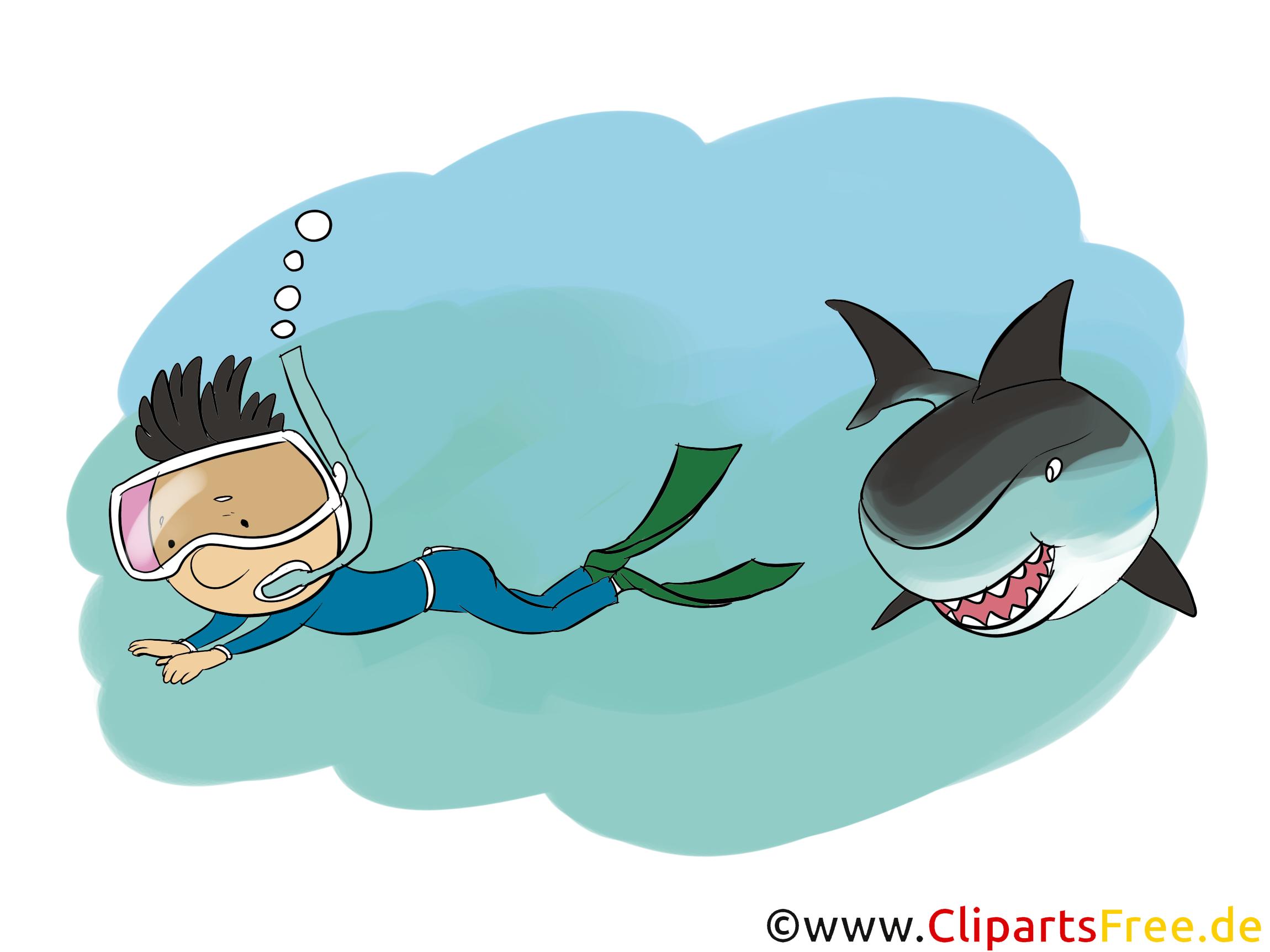 Taucher und Hai Clipart, Comic, Bild, Illustration