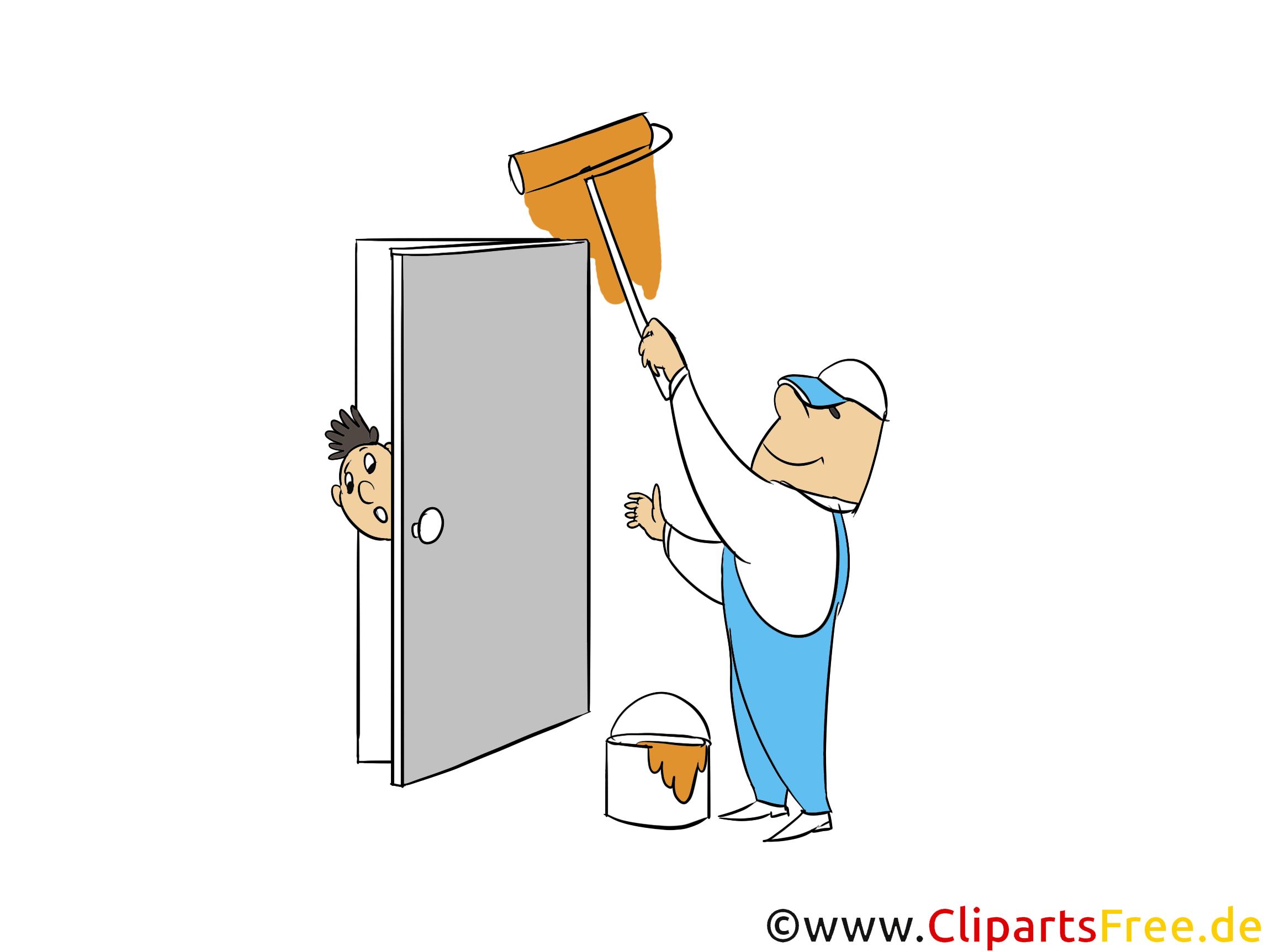 Wände streichen bei Renovierung Bild, Clipart, Illustration