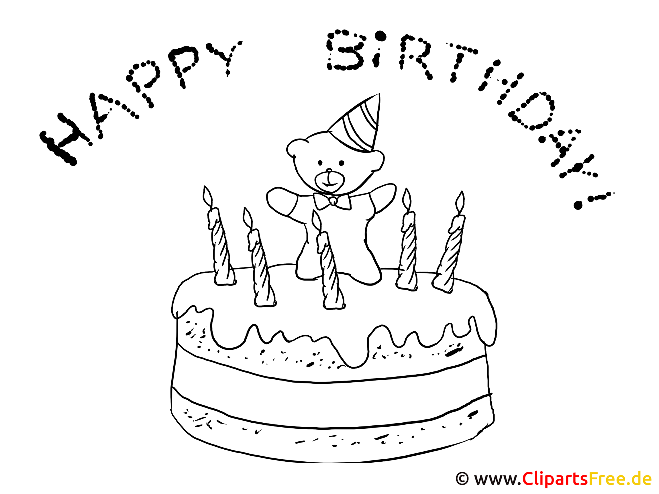 Ausmalbild Torte zum Geburtstag