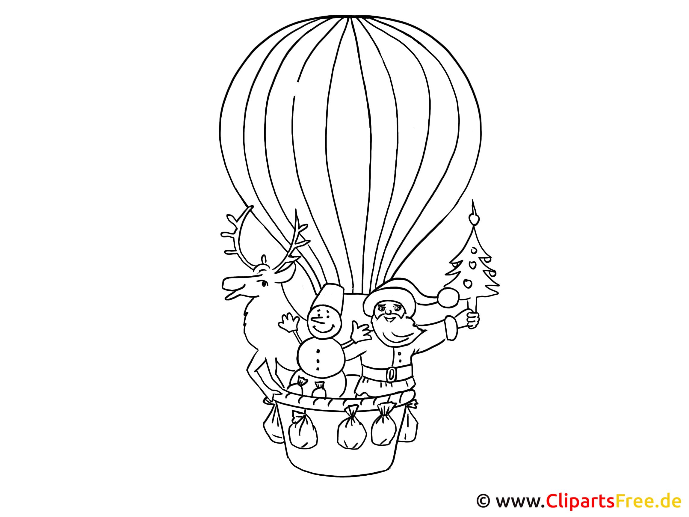Ausmalbilder für Kinder zum Ausdrucken Heissluftballon