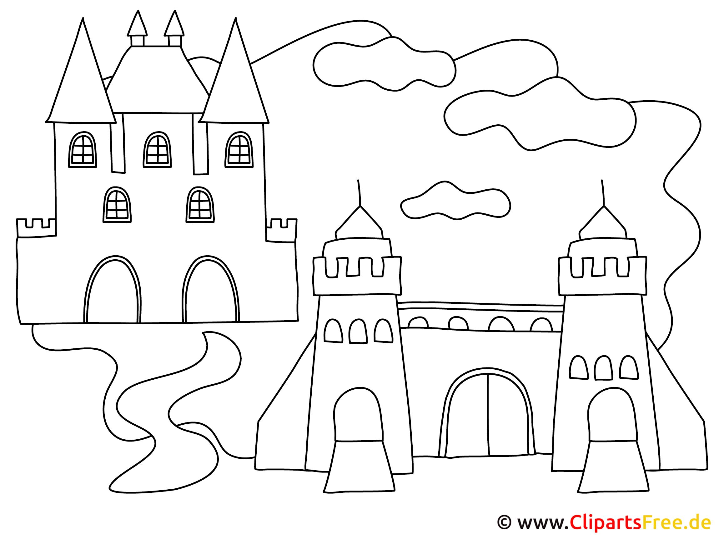 Bild zum Ausmalen Maerchenschloss