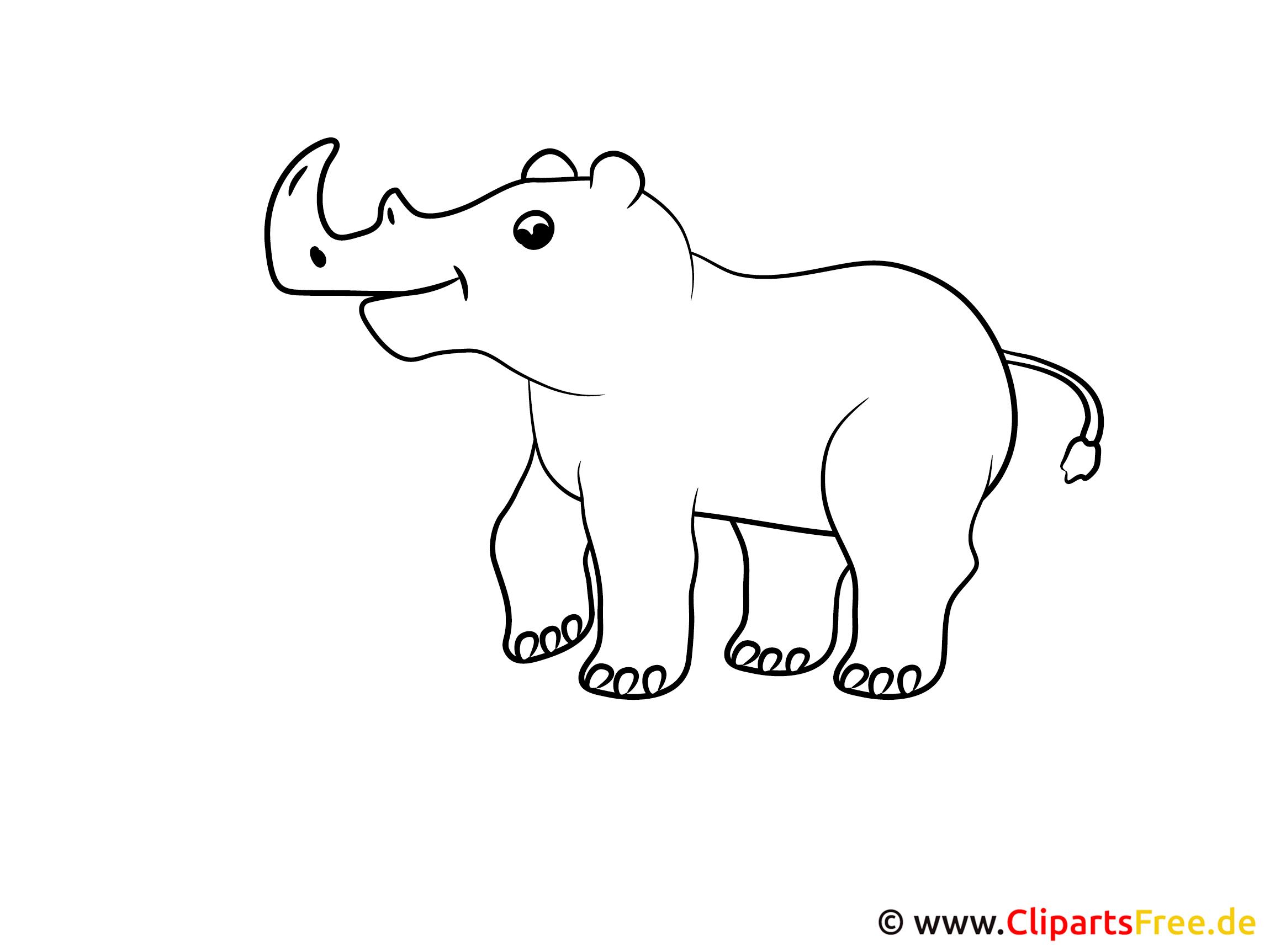 Malvorlage kostenlos Ausdrucken Nashorn
