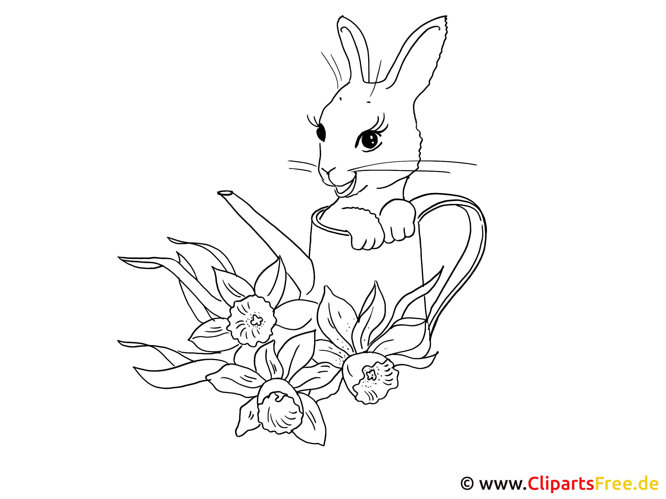 Ostern Ausmalbild mit Kaninchen
