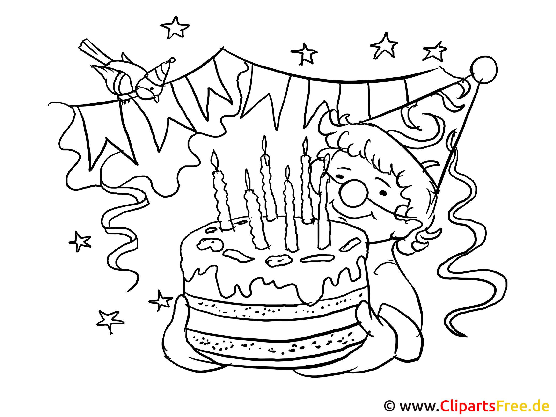Zum Geburtstag viel Glück Bild zum Ausmalen