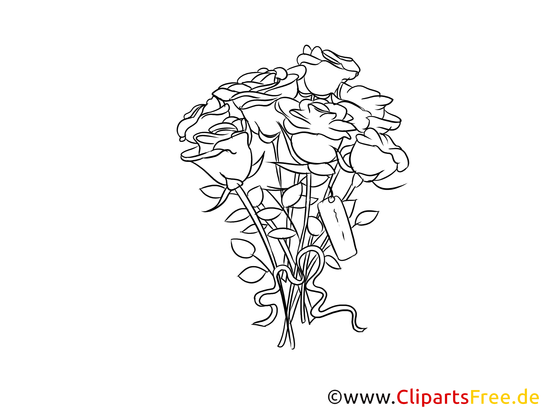 Rosenstrauß, Rosen Clipart schwaru-weiß