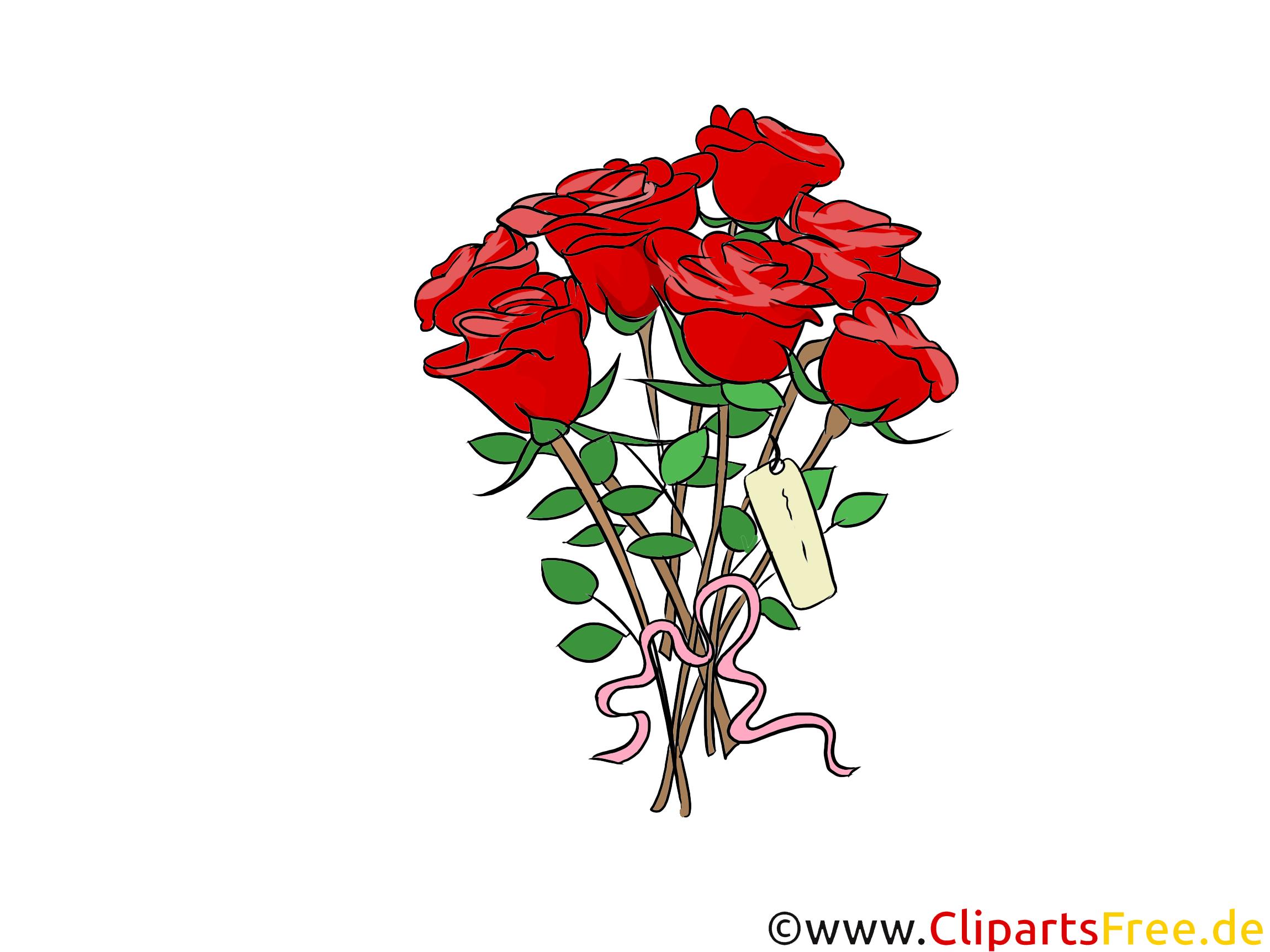 Rote Rosen Blumenstrauß Clipart, Grafik, Bild, Illustration