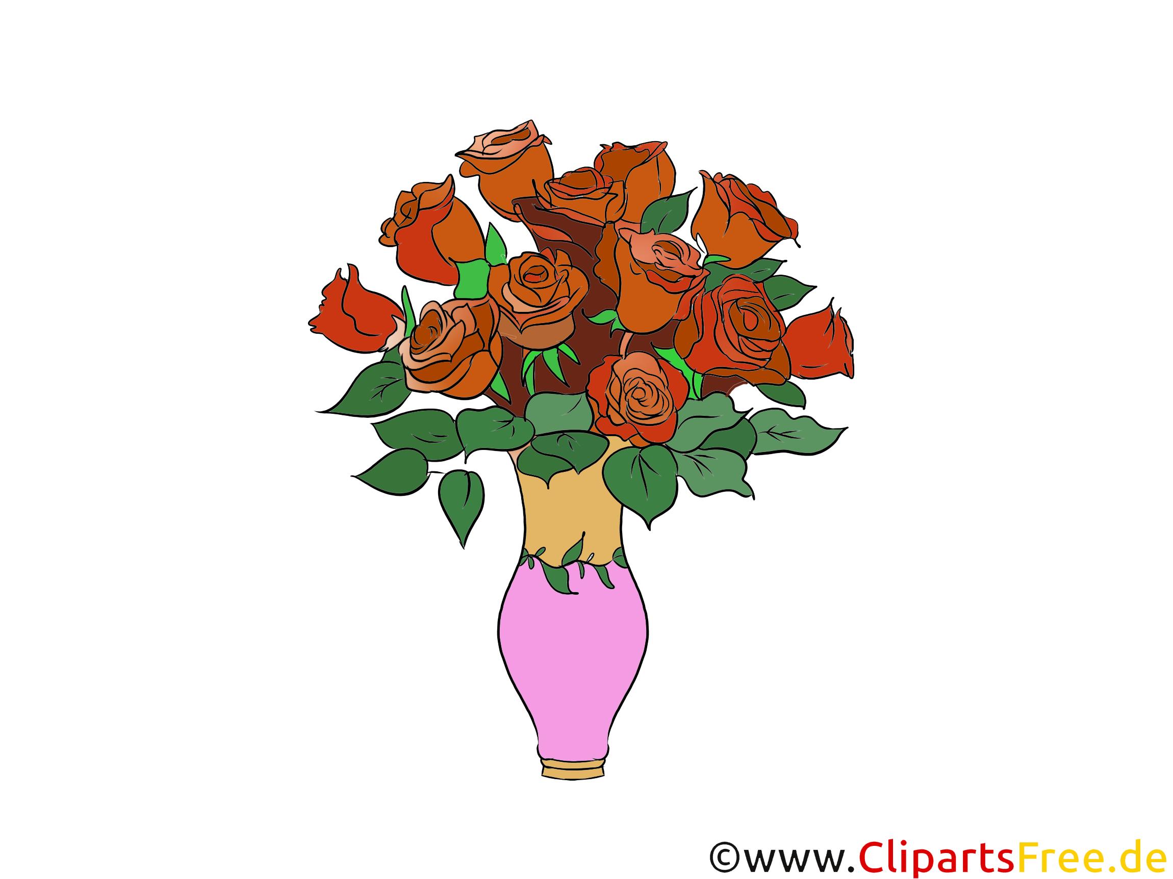 Rote Rosen in Vase Clipart, Bild, Grafik kostenlos