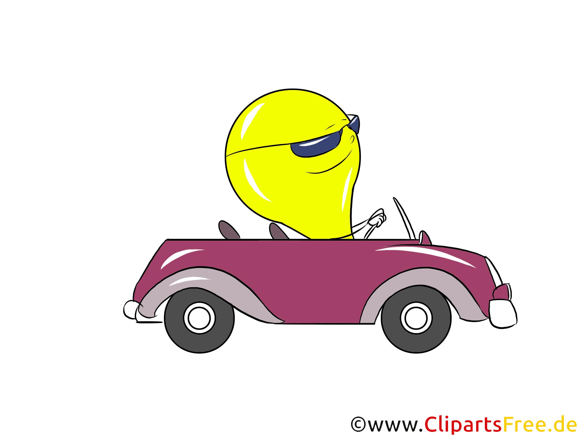 Comic Glühbrine fährt im Auto Bild, Clipart