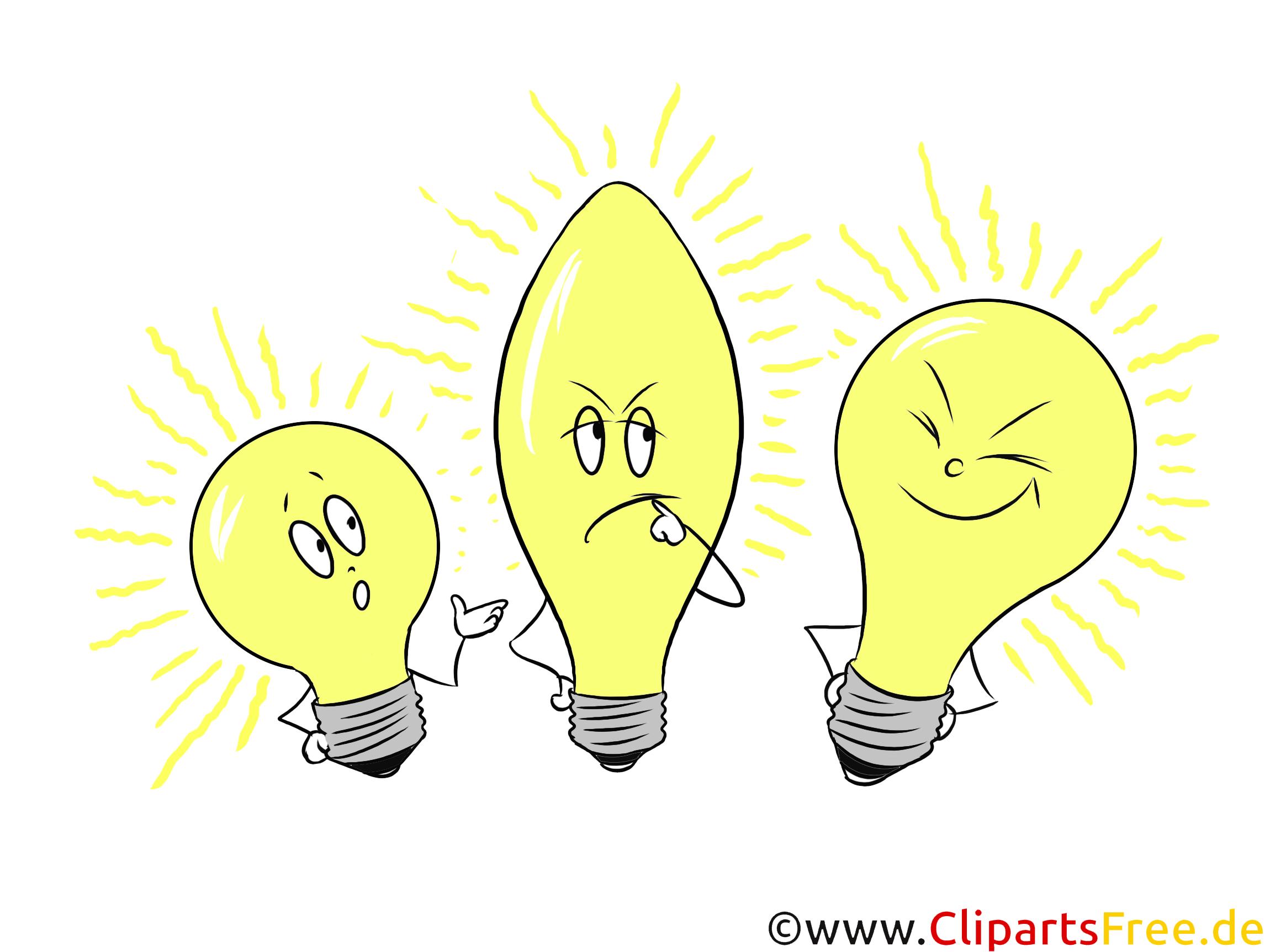 Gelbe Glühbirnen Illustration, Clipart zum Präsentieren