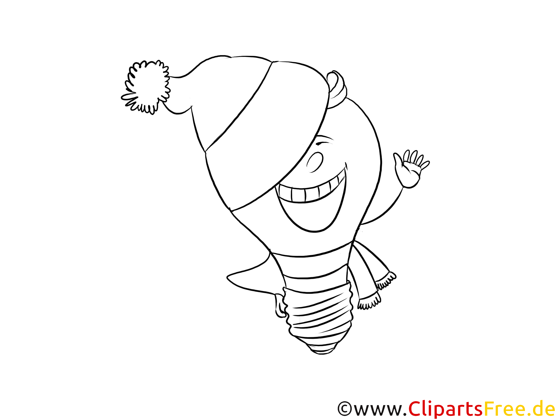 Lachende Comicfigur Glühbirne Clipart, Cartoon, Zeichnung