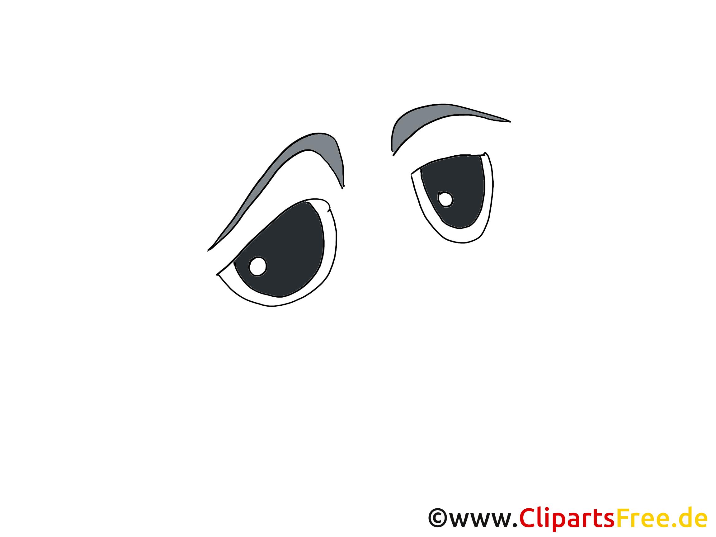 Traurige Comic Augen Clipart, Bild, Zeichnung, Grafik