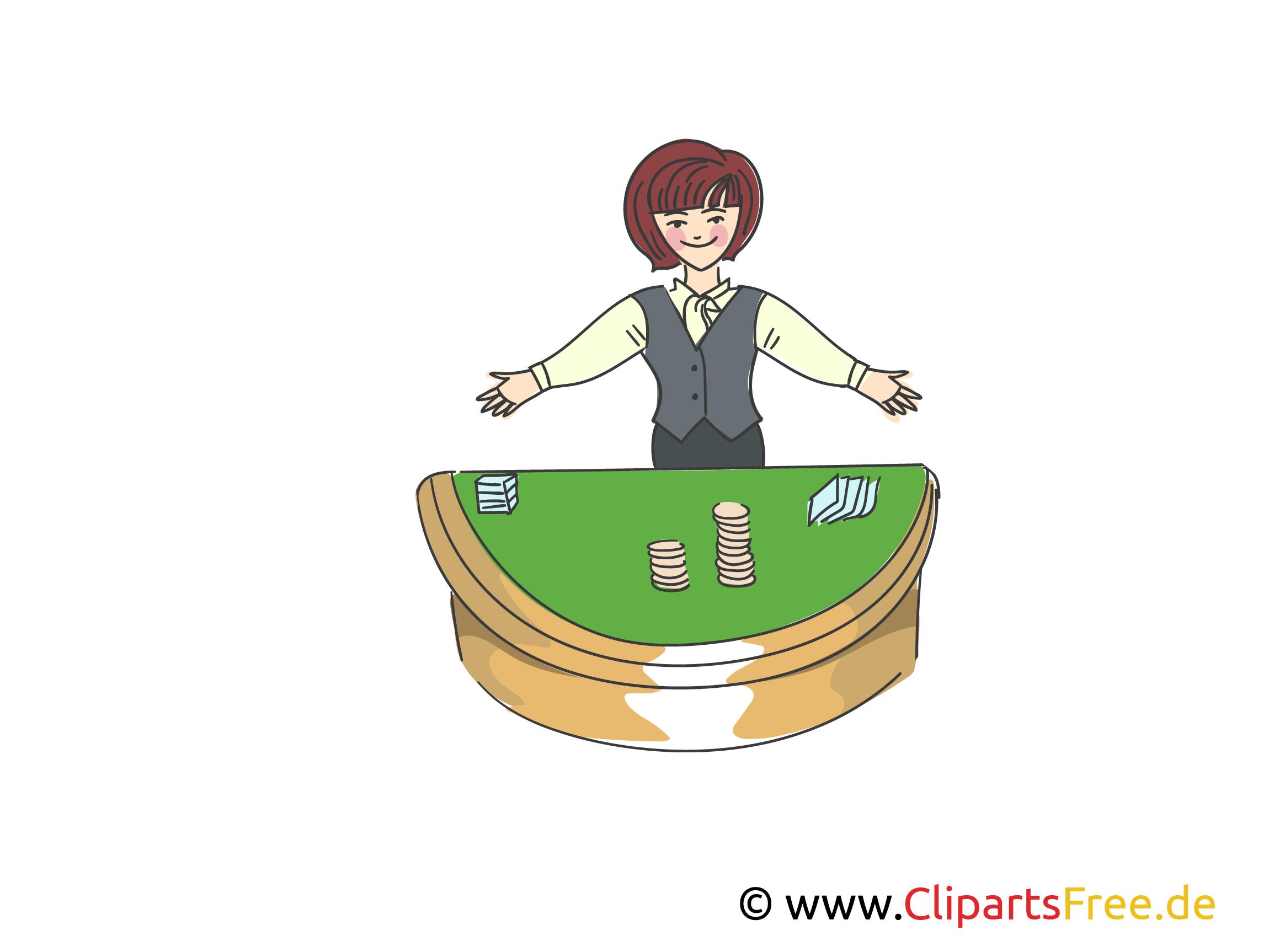 Croupier Frau in Casino Clipart, Bild, Illustration