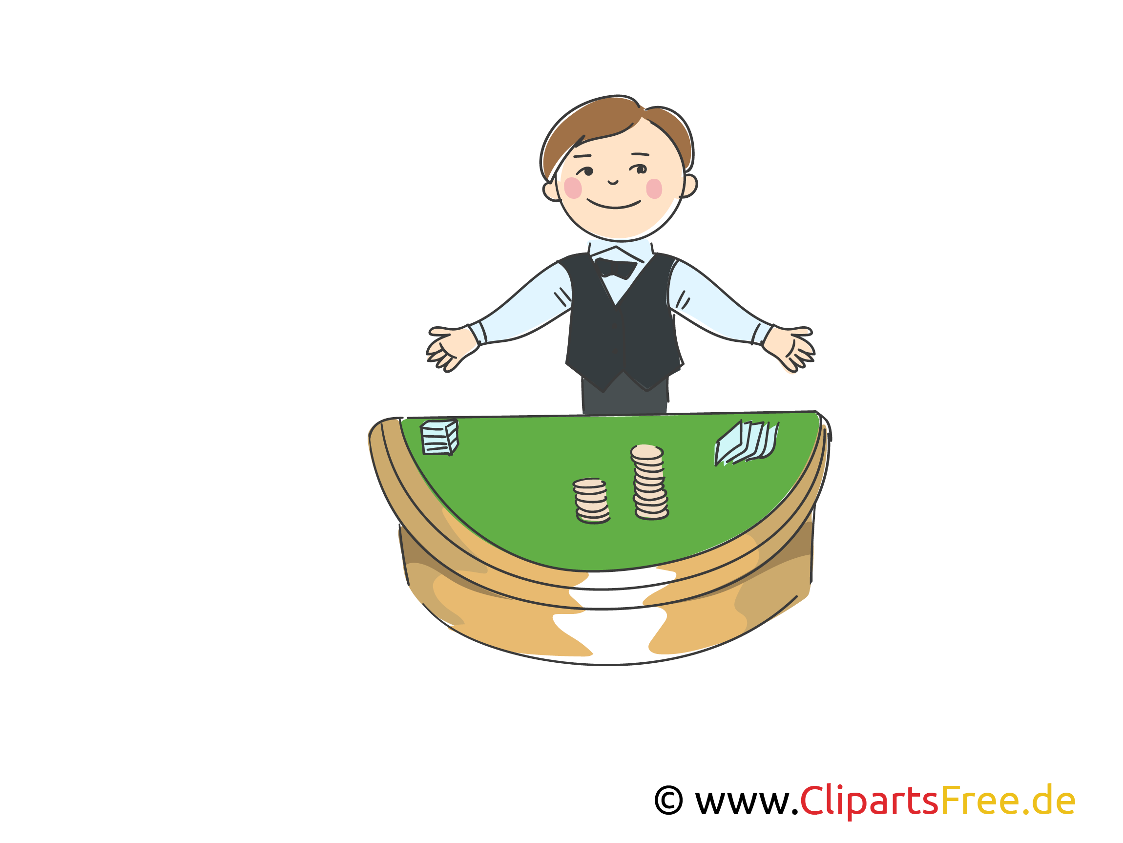 Croupier in Casino Clipart, Bild, Illustration