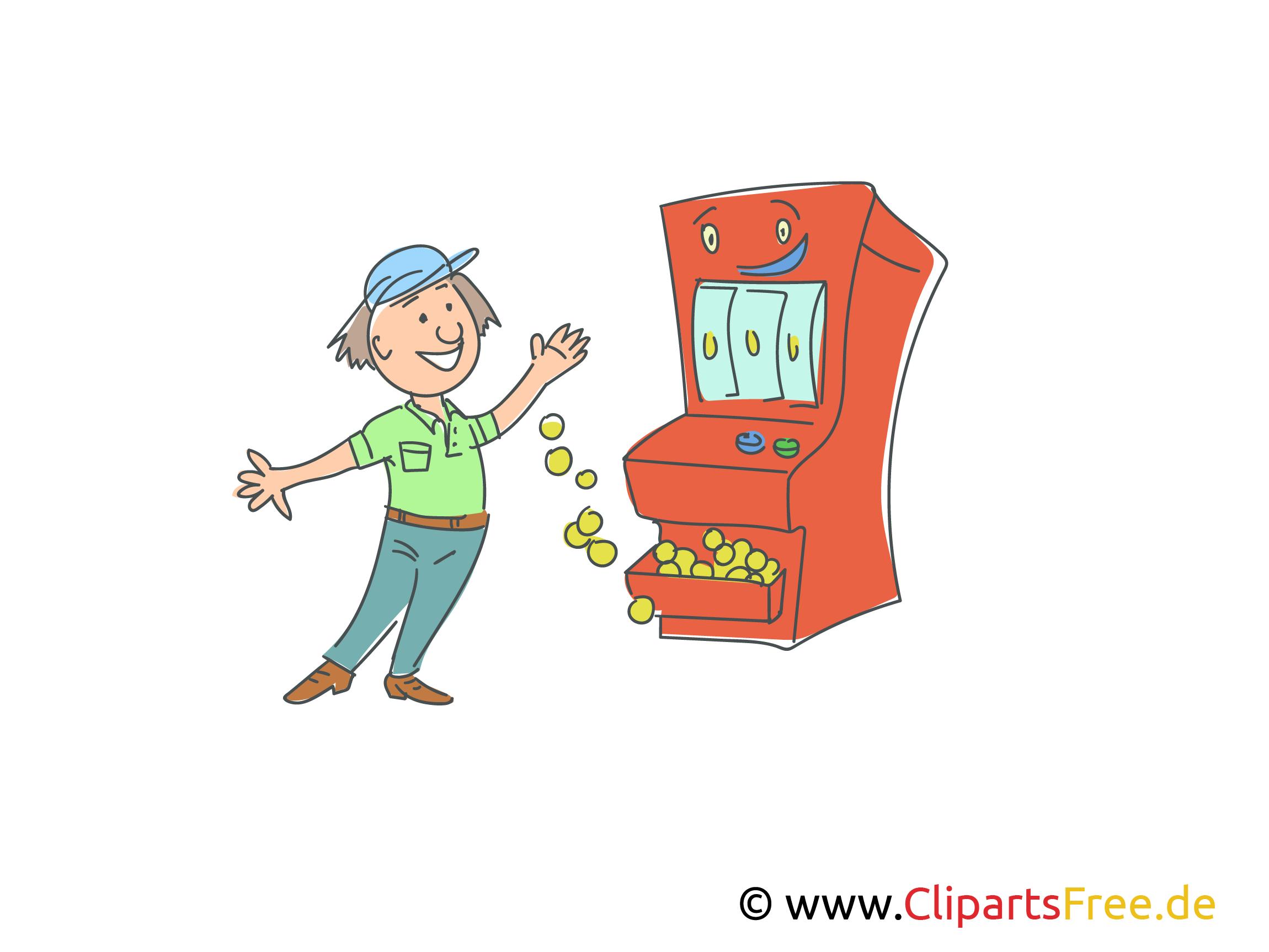 Gewinn bei Spielautomaten Bild, Illustration, Clipart
