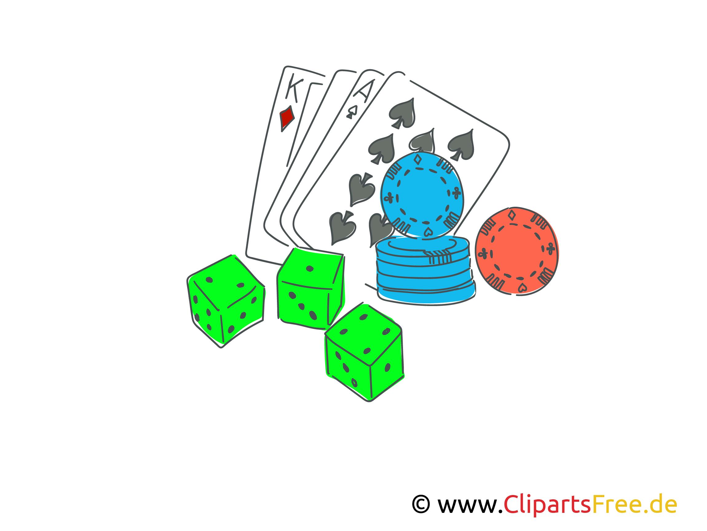Poker spielen Clipart, Illustration, Bild