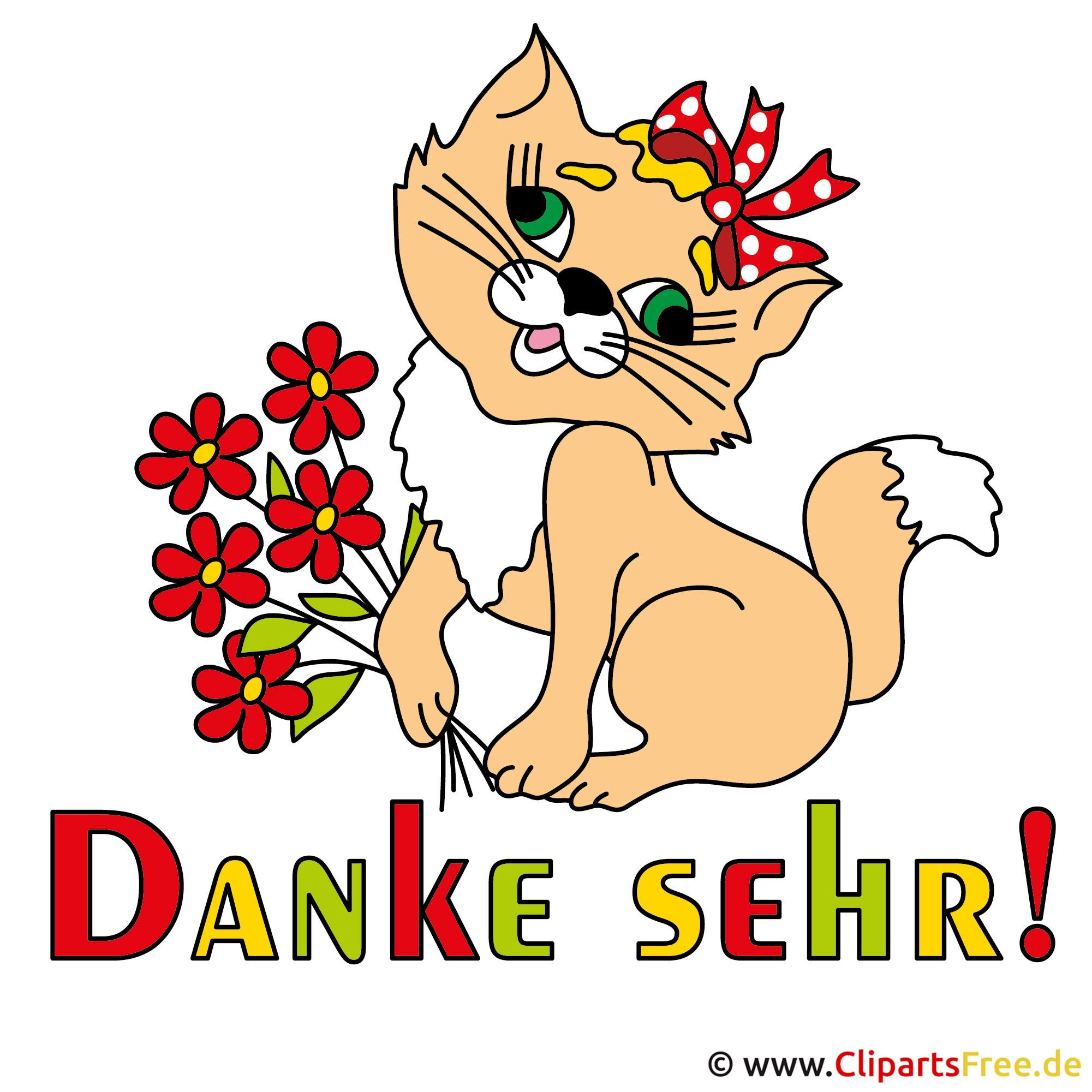 Danksagungskarte mit netter Katze - Danke Cliparts