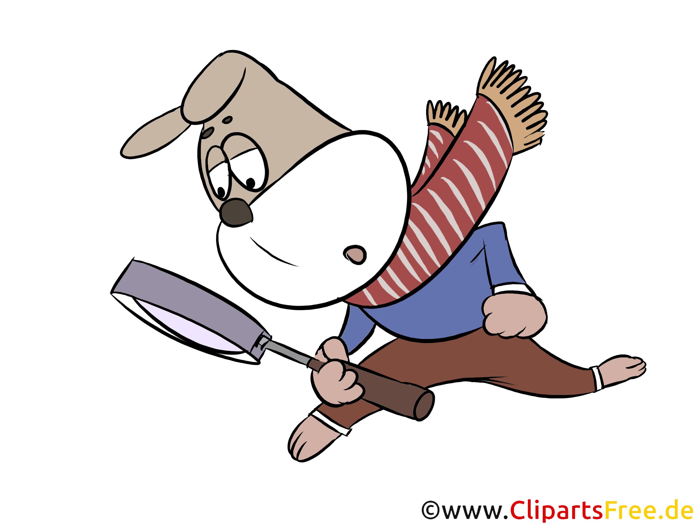 Clipart Hund mit Lupe