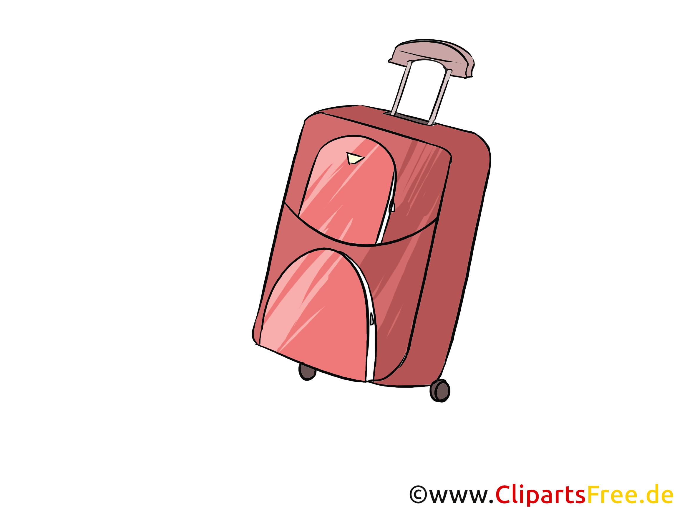 Koffer mit Rädern Bild, Illustration, Clipart