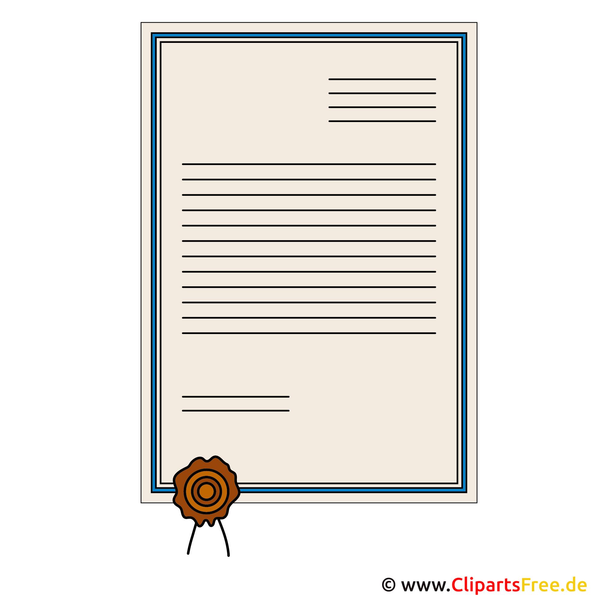 Urkundenvorlage Clipart