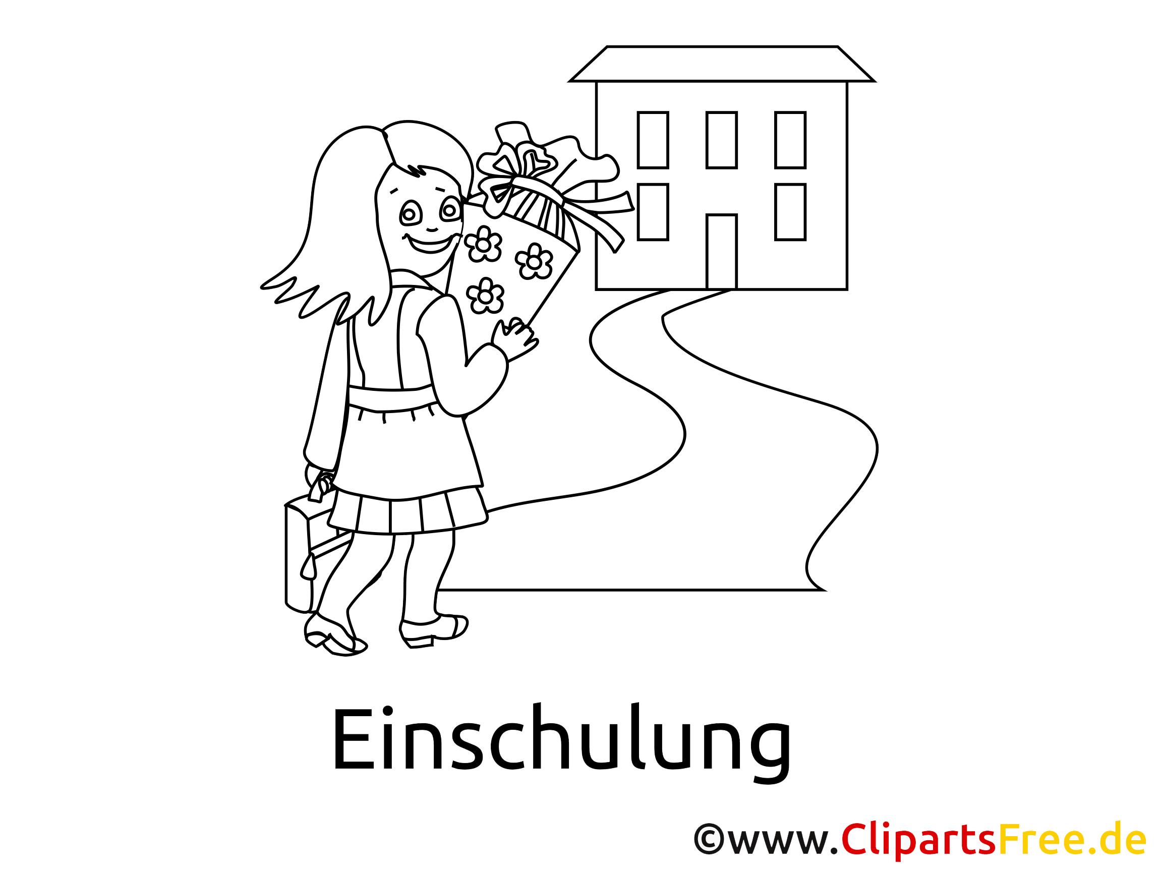 Mädchen geht in die Schule - Ausmalbilder Einschulung