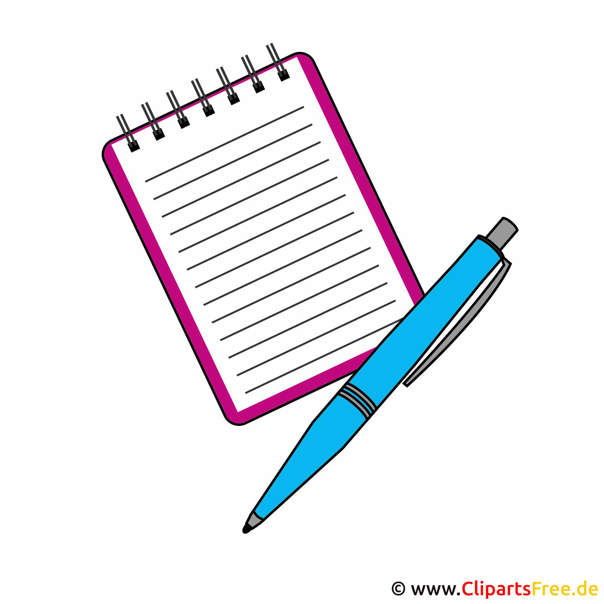 Free Clipart Schule - Notizbuch und Kugelschreiber