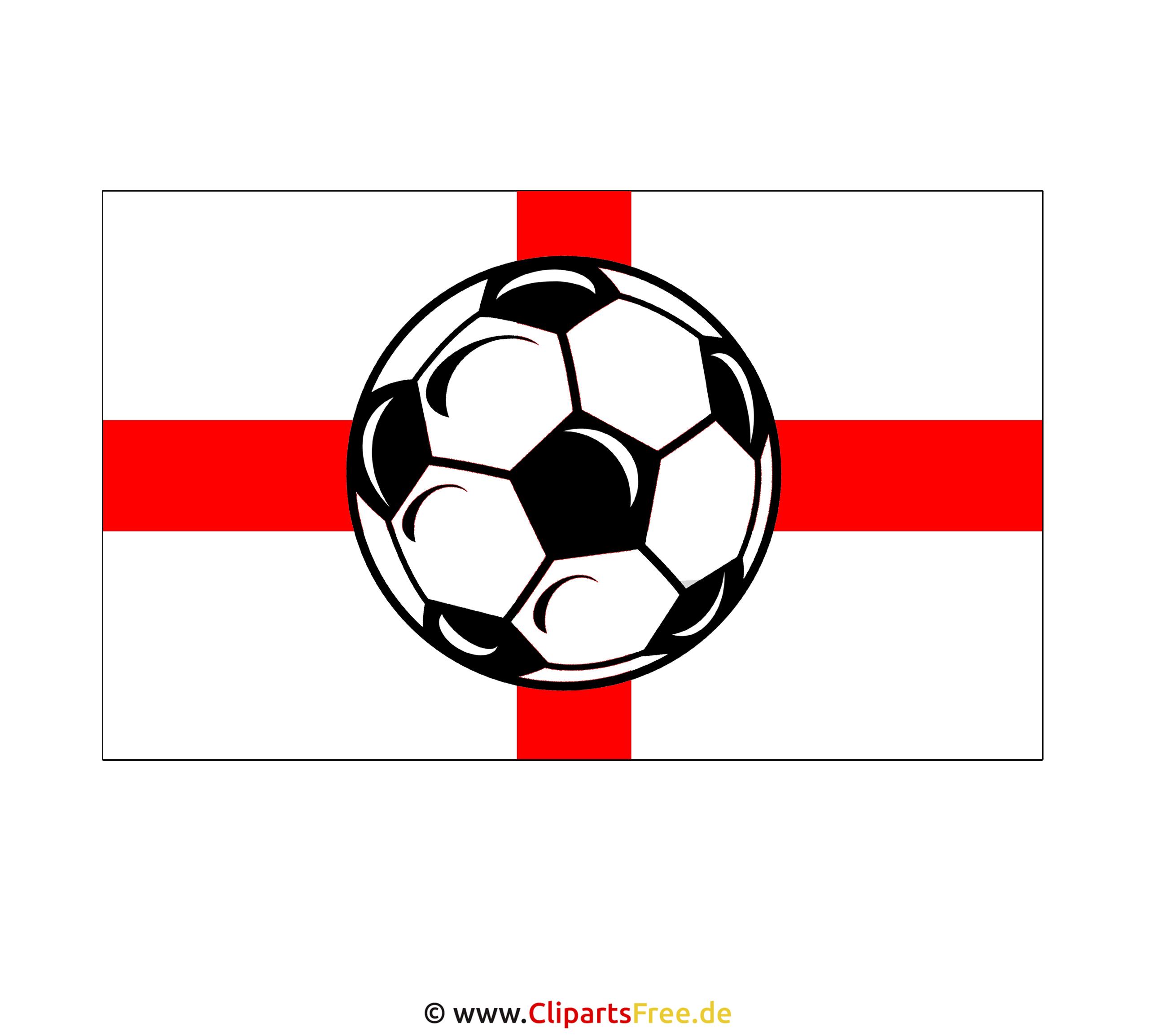 English Flag with  Soccer Ball Clip Art