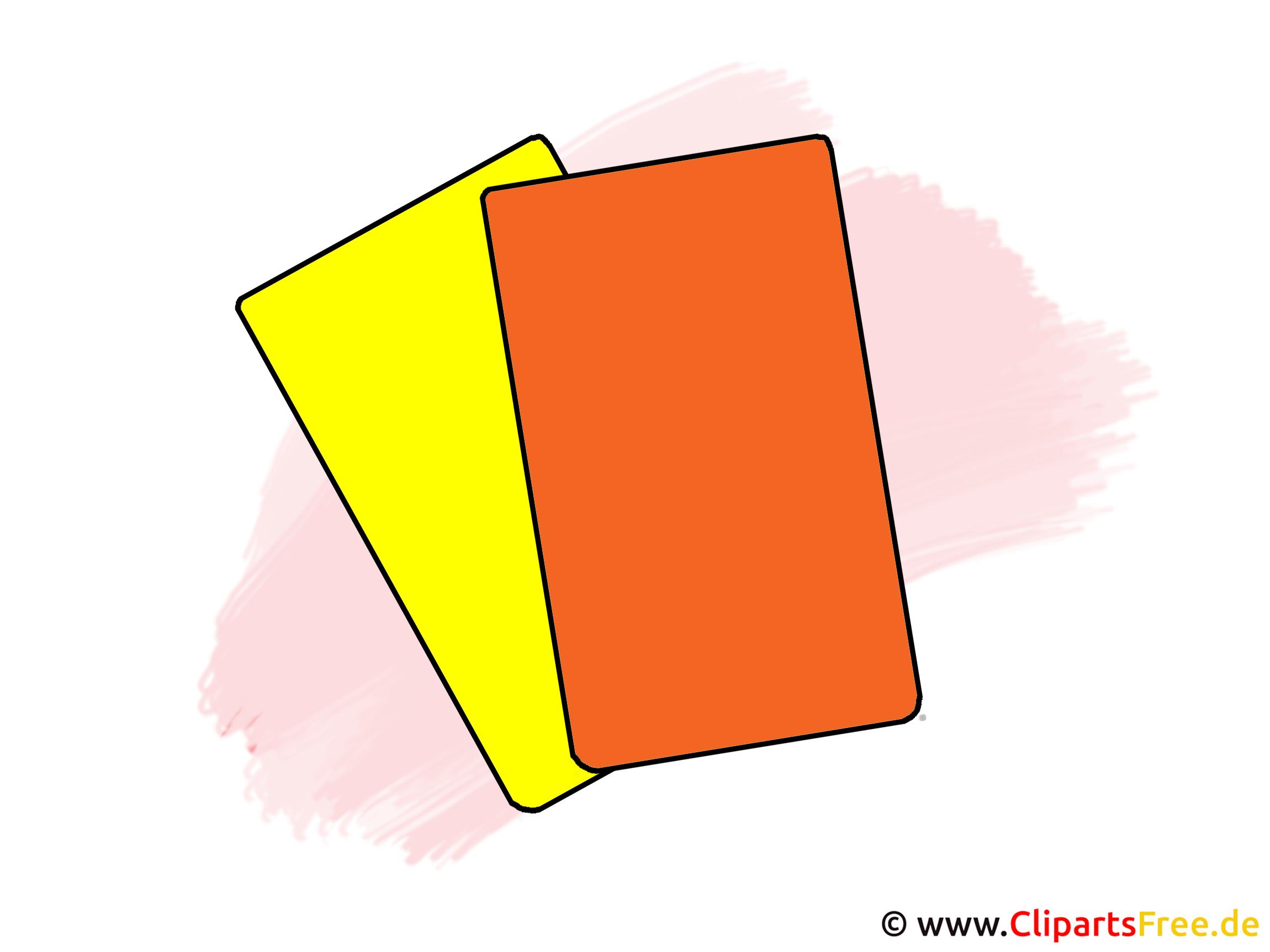 Gelbe und rote Karten Fusball Clipart, Bild, Illustration, Grafik