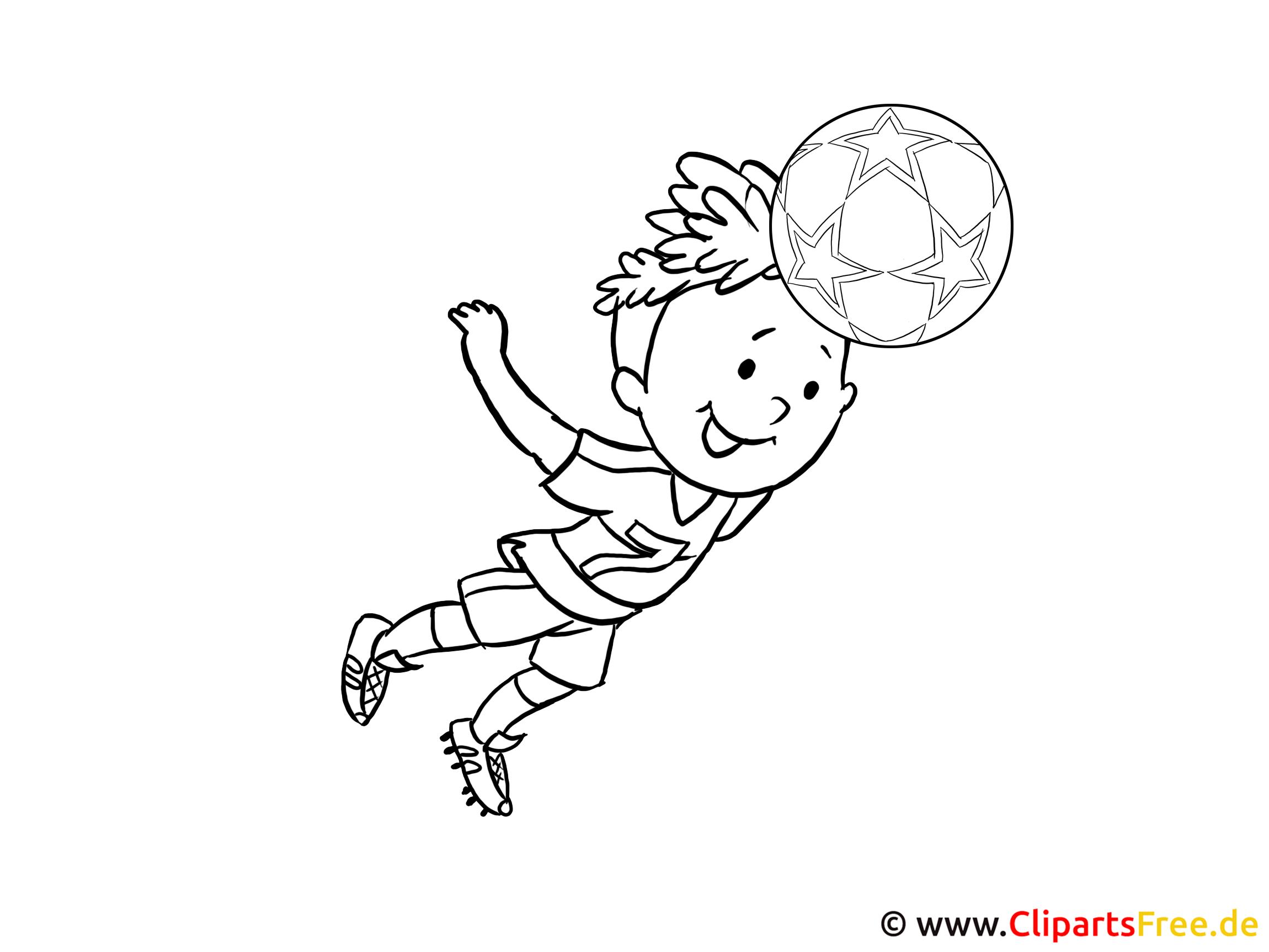 Kindermalvorlage Kind spielt Fussball