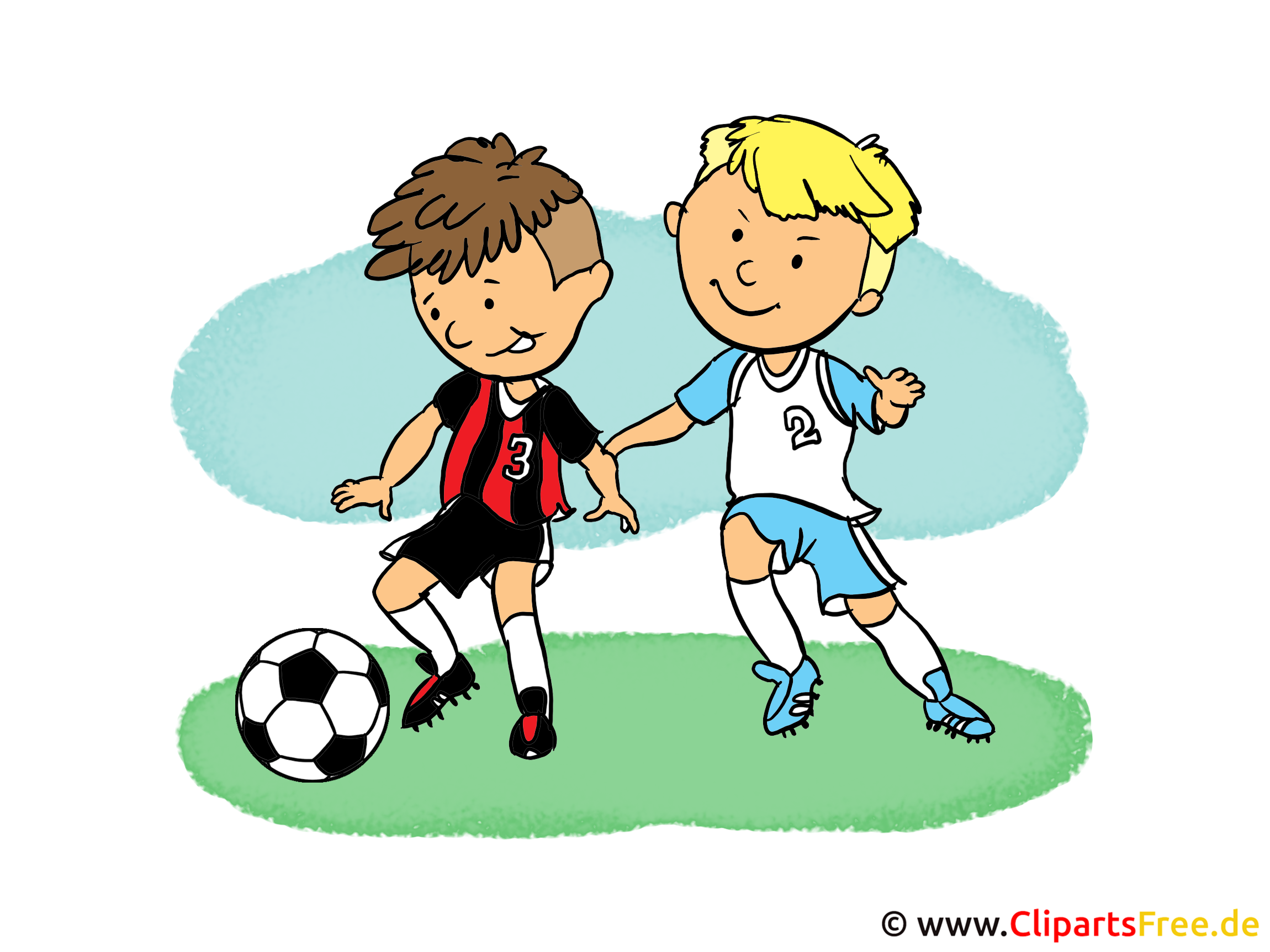 Soccer Cartoon Children playing Soccer