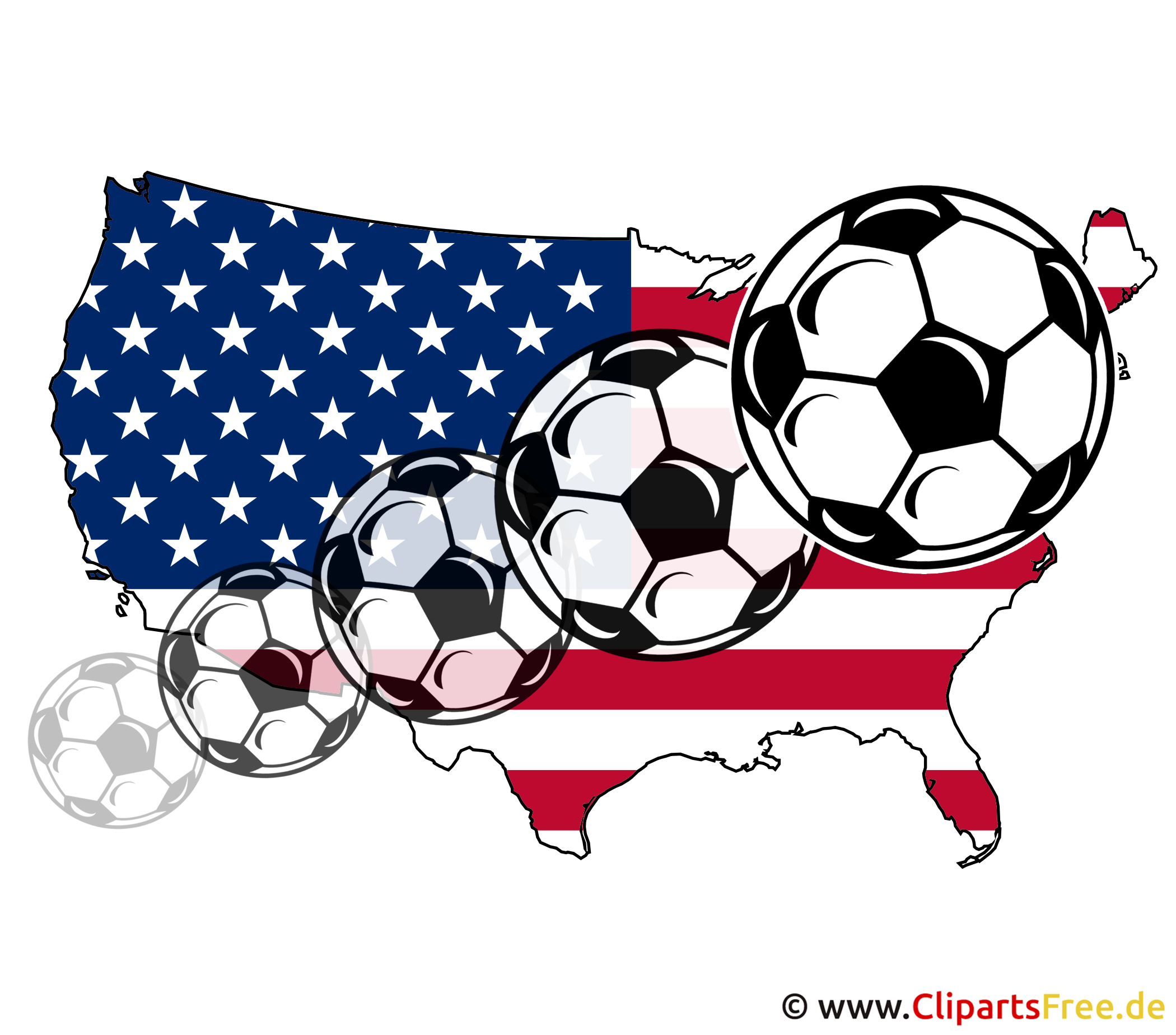 USA Map with flying Soccer Balls Image